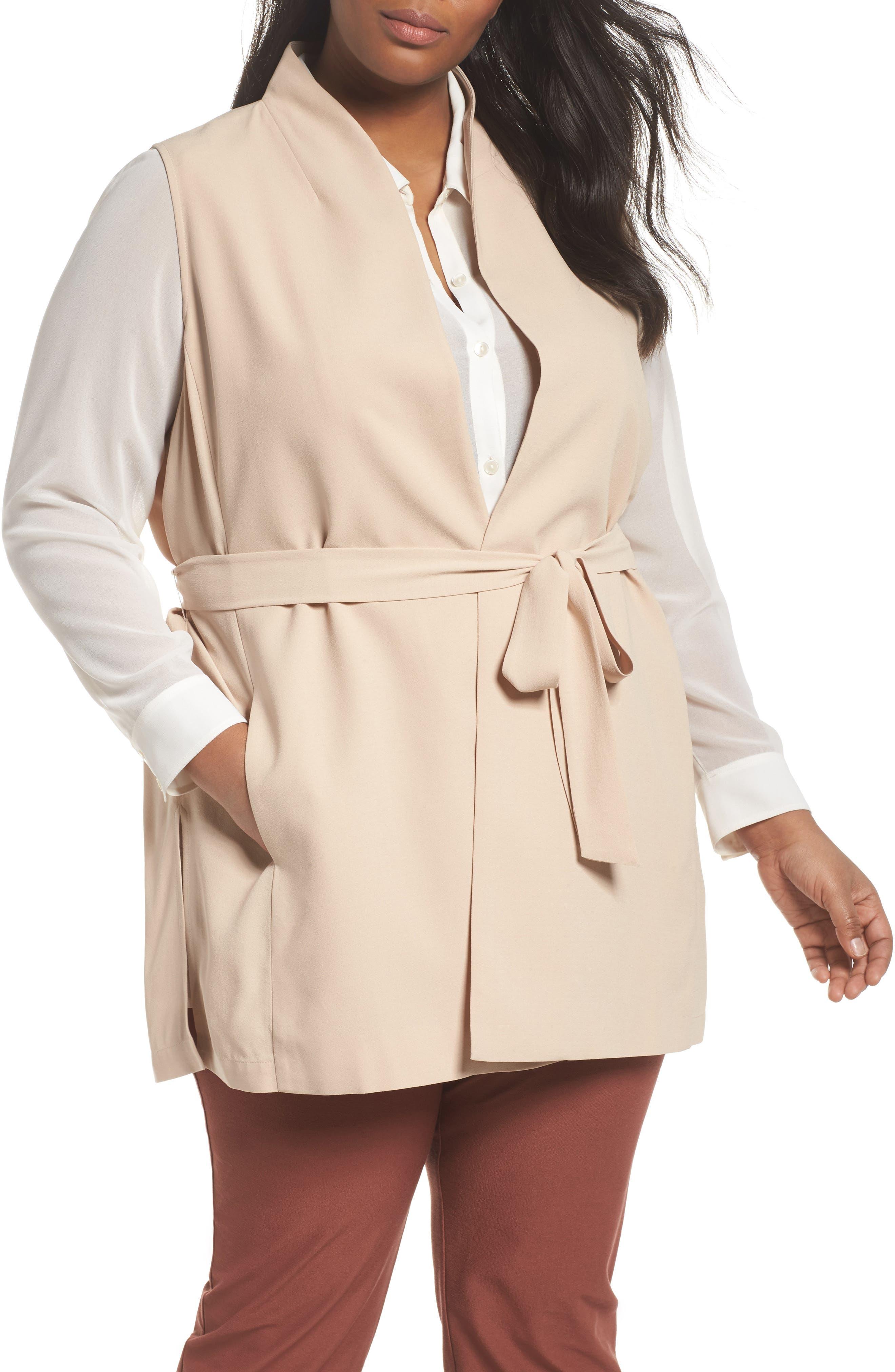Eileen Fisher Silk Georgette Crepe Long Vest (Plus Size)