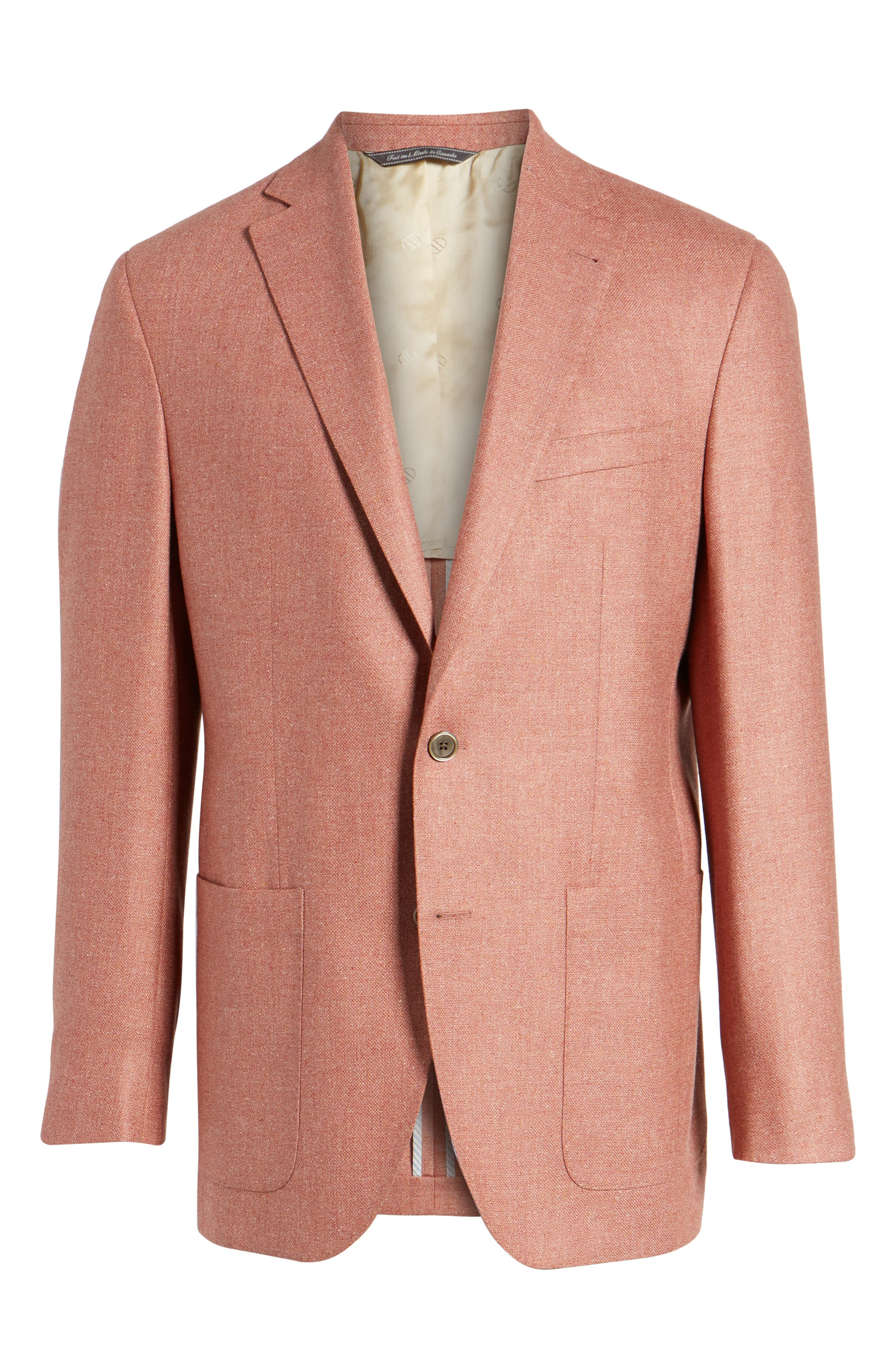 Aiden Classic Fit Silk & Wool Blazer,                             Alternate thumbnail 6, color,                             Salmon