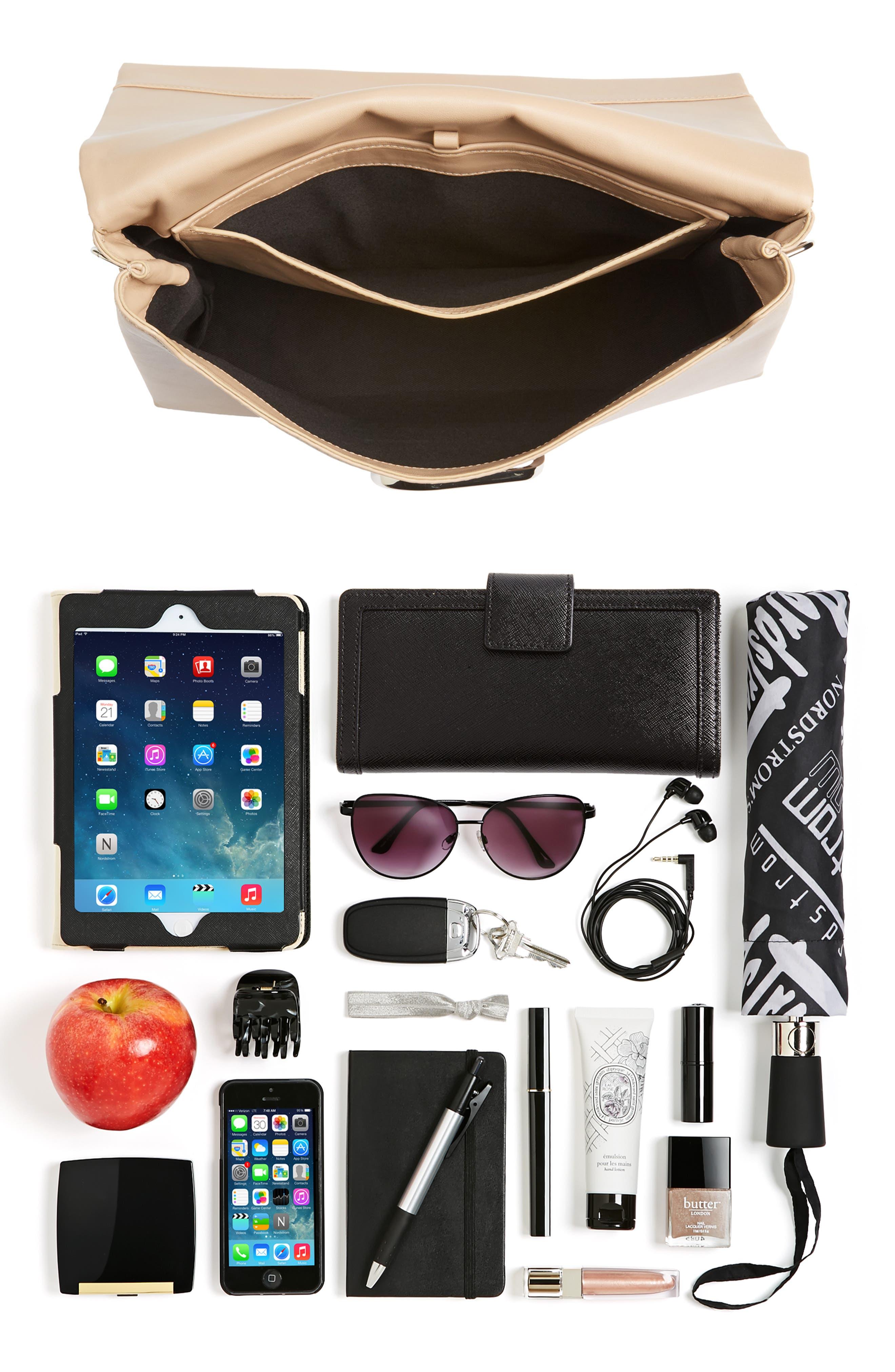 Oversized Alix Flap Leather Shoulder Bag,                             Alternate thumbnail 8, color,