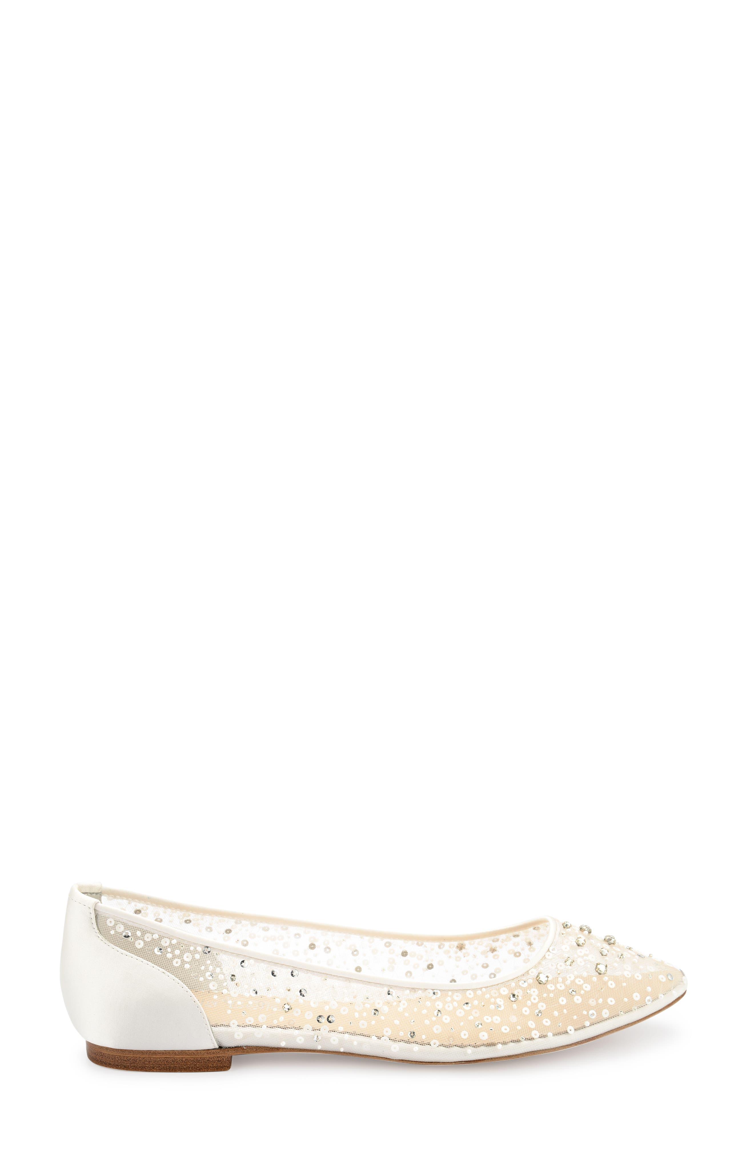 Ariel Sequin Flat,                             Alternate thumbnail 3, color,                             Ivory Silk