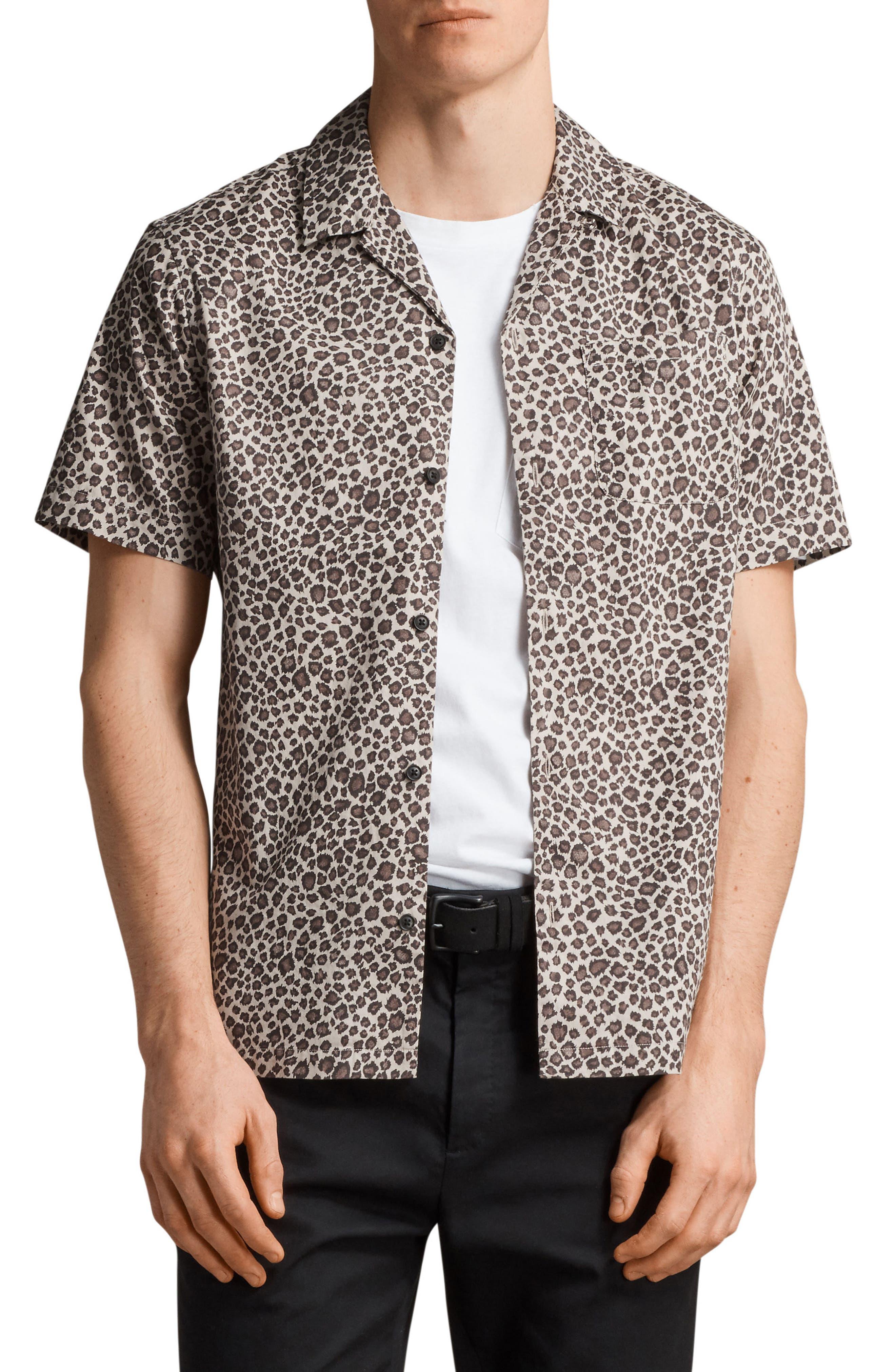 Apex Leopard Print Short Sleeve Sport Shirt,                         Main,                         color, Light Brown