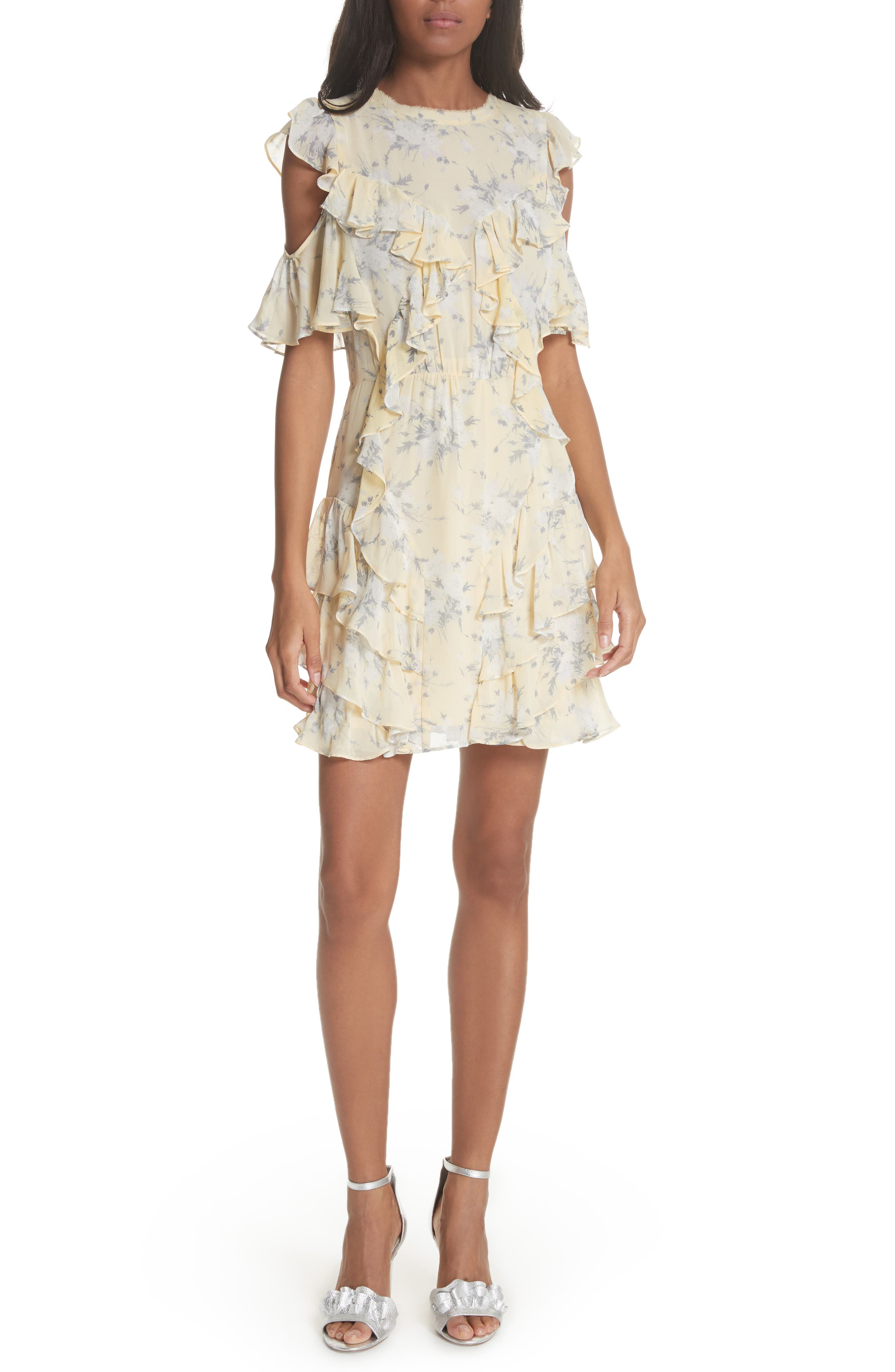 Cold Shoulder Lemon Rose Silk Dress,                         Main,                         color, Lemon Combo