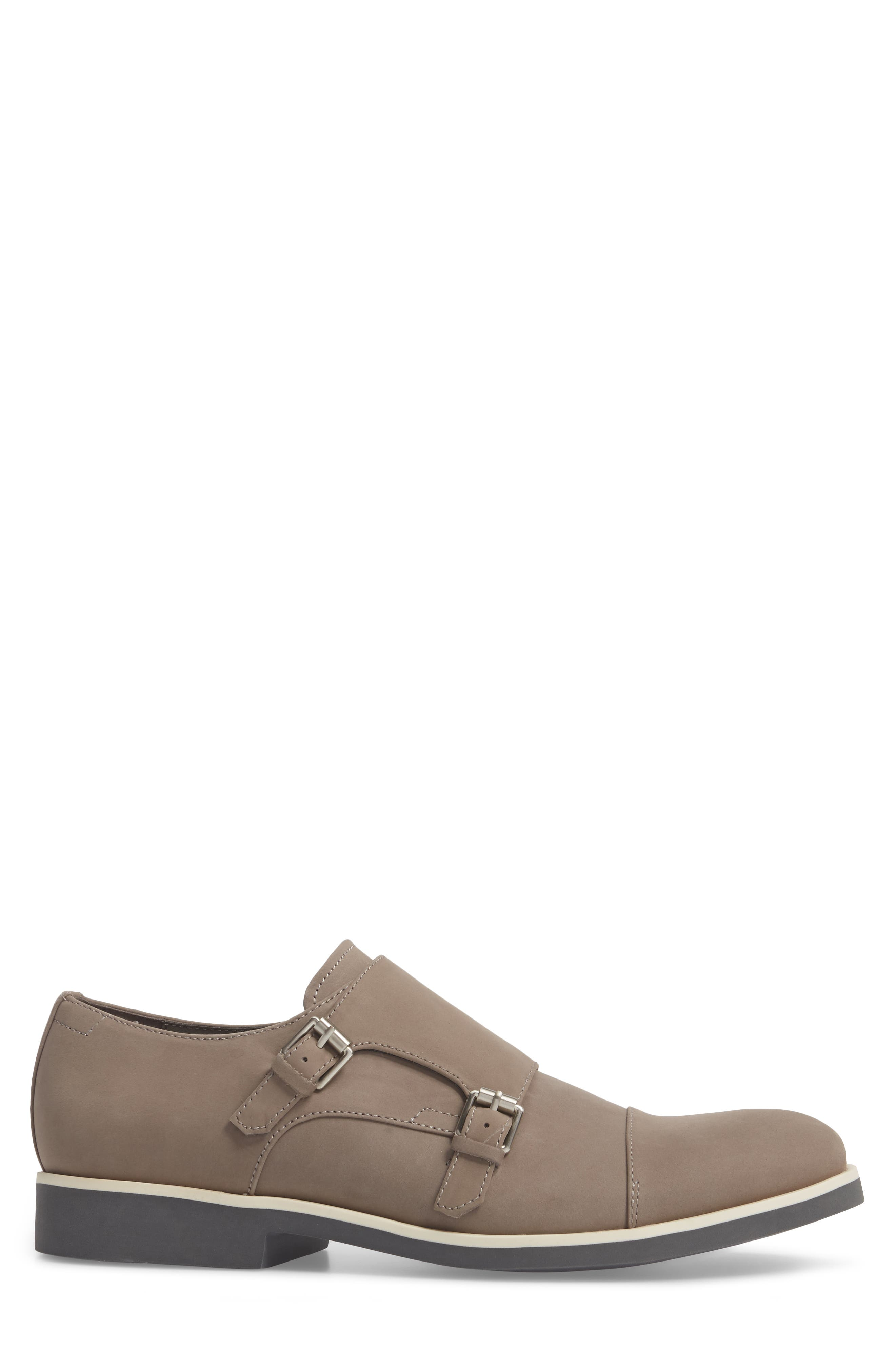 Finch Double Monk Strap Shoe,                             Alternate thumbnail 3, color,                             Toffee Leather