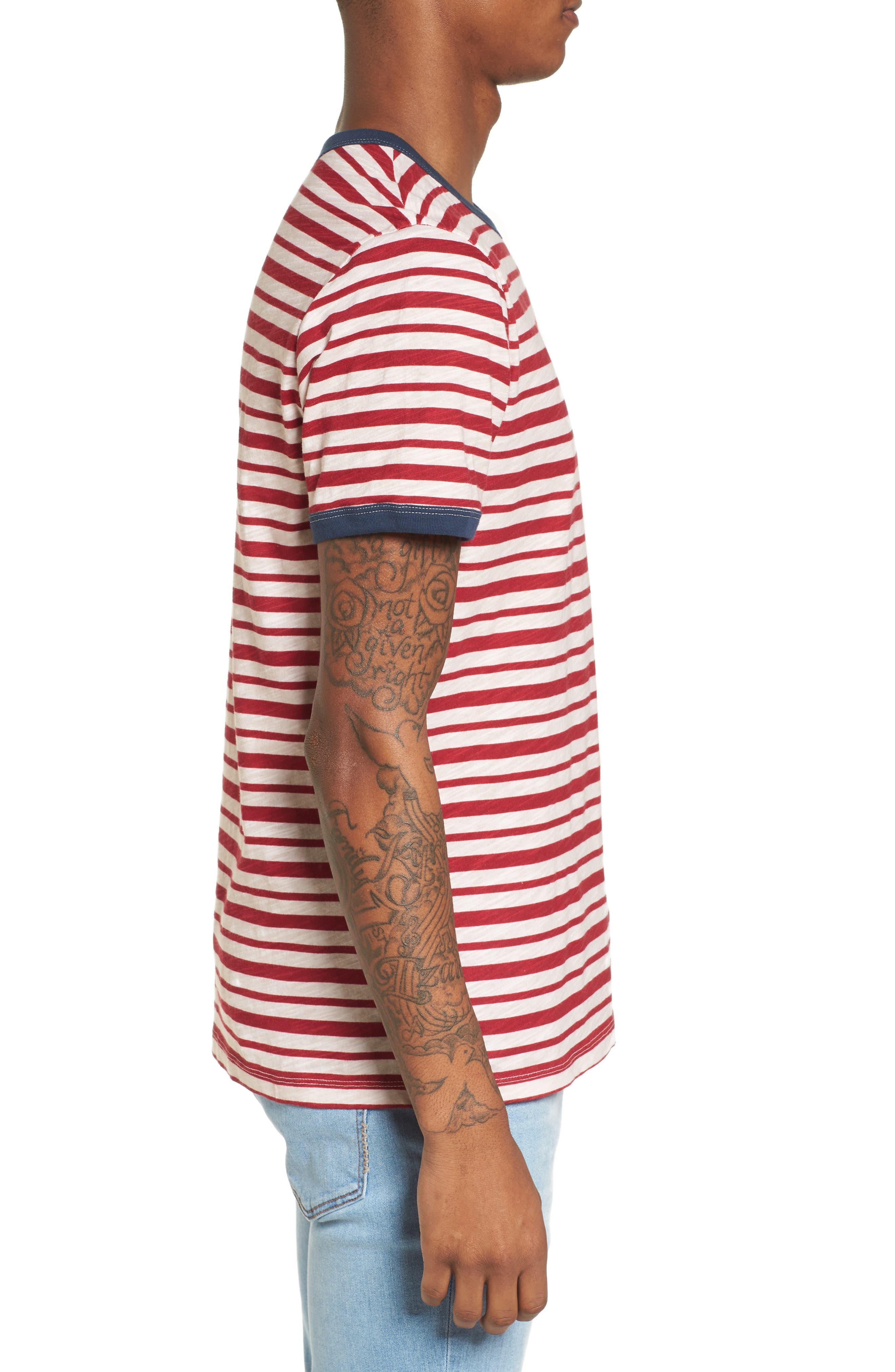 Slub Stripe Ringer T-Shirt,                             Alternate thumbnail 3, color,                             Ivory Red Stripe