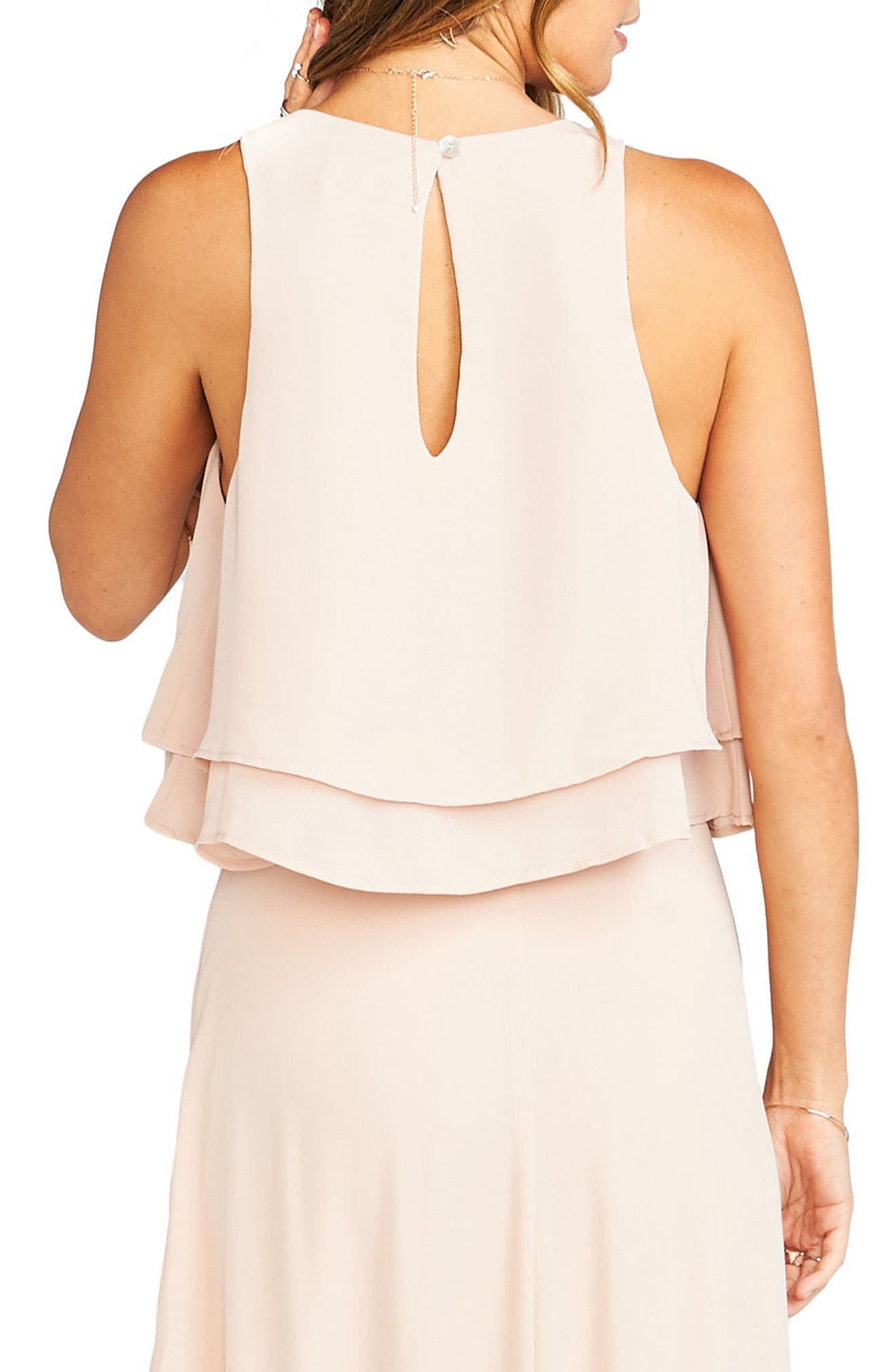 'King' Tiered Chiffon Crop Top,                             Alternate thumbnail 2, color,                             Dusty Blush