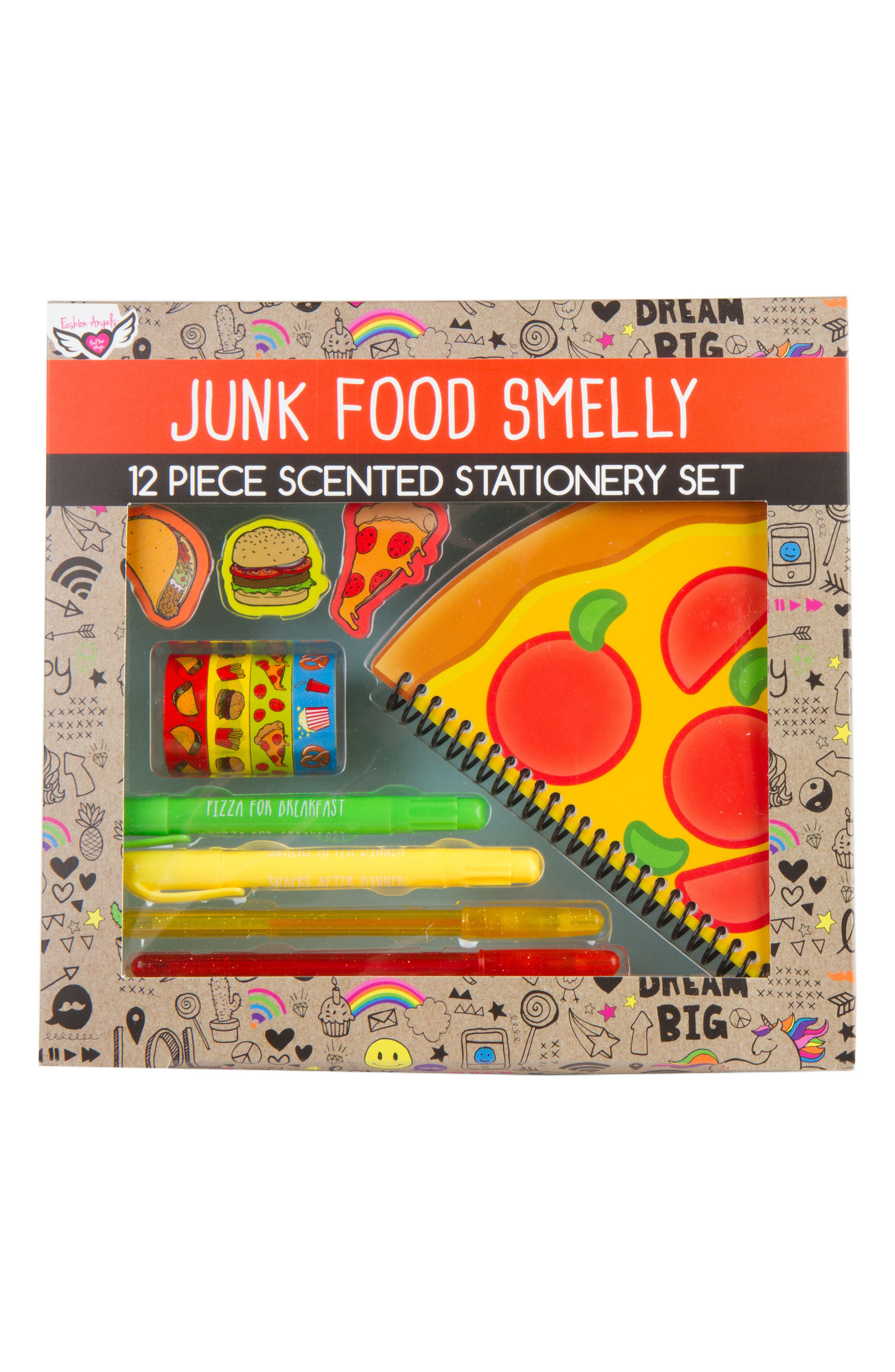 Junk Food 12-Piece Scented Stationery Set,                             Main thumbnail 1, color,                             Red