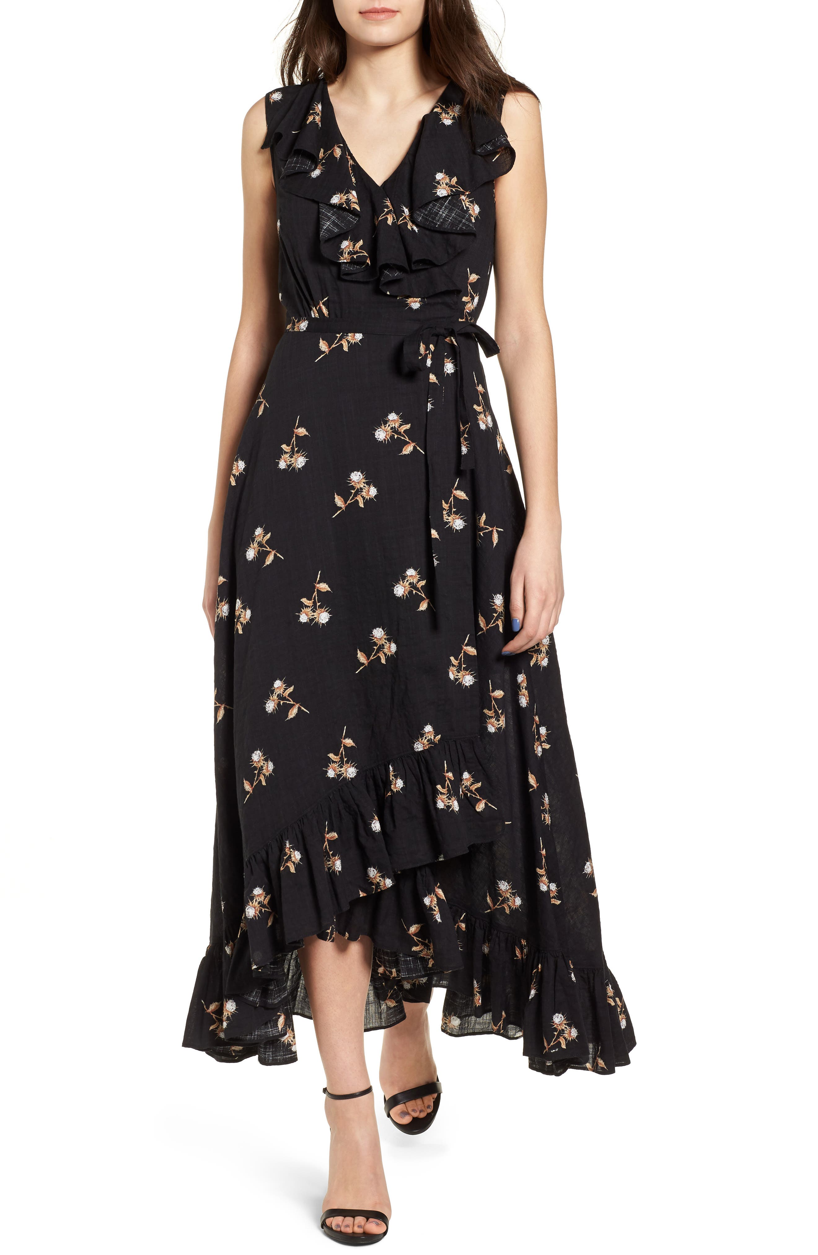 Ruffle Wrap Maxi Dress,                         Main,                         color, Black Washy Bouquets