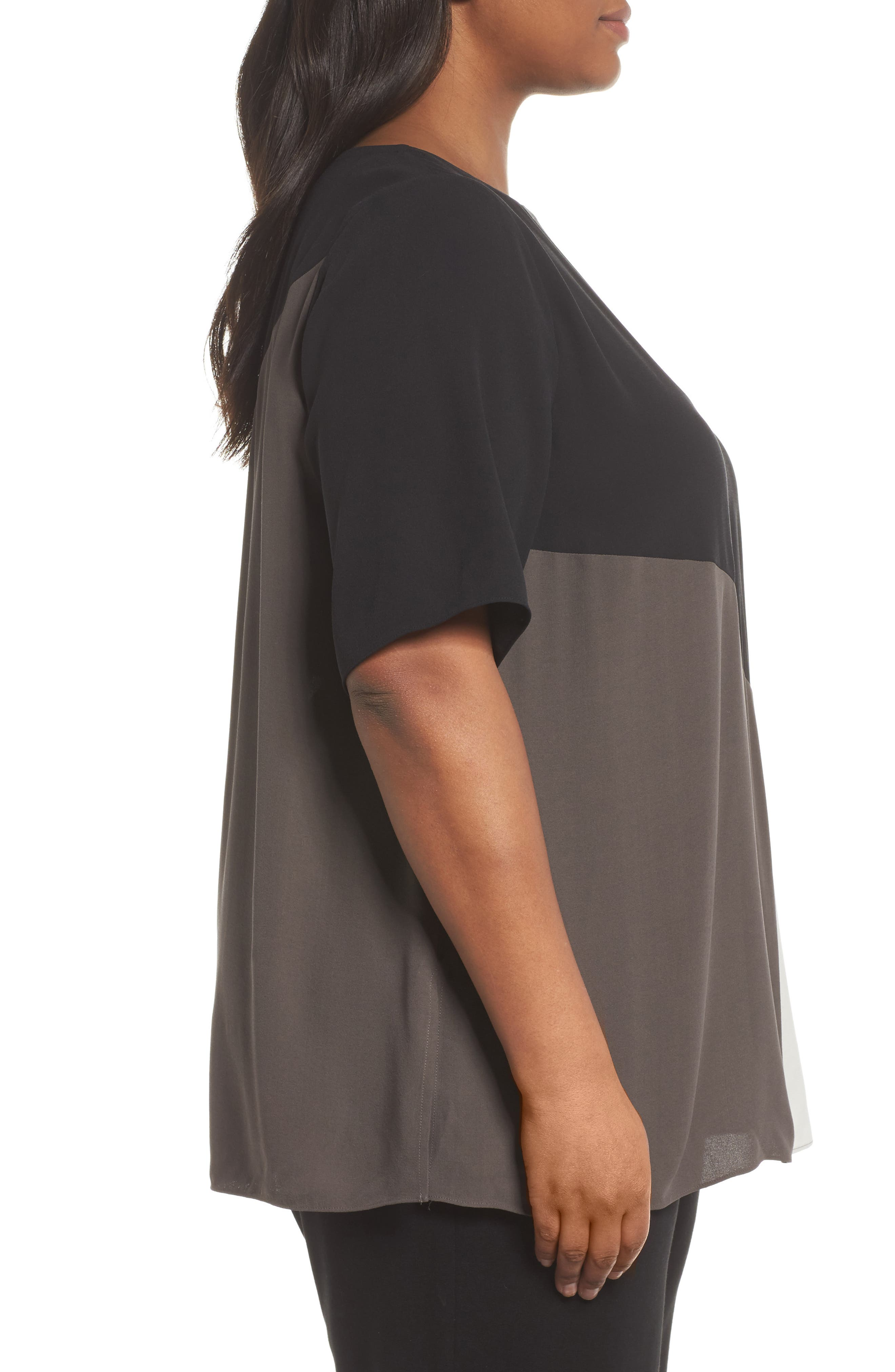 Alternate Image 3  - Eileen Fisher Colorblock Silk Top (Plus Size)