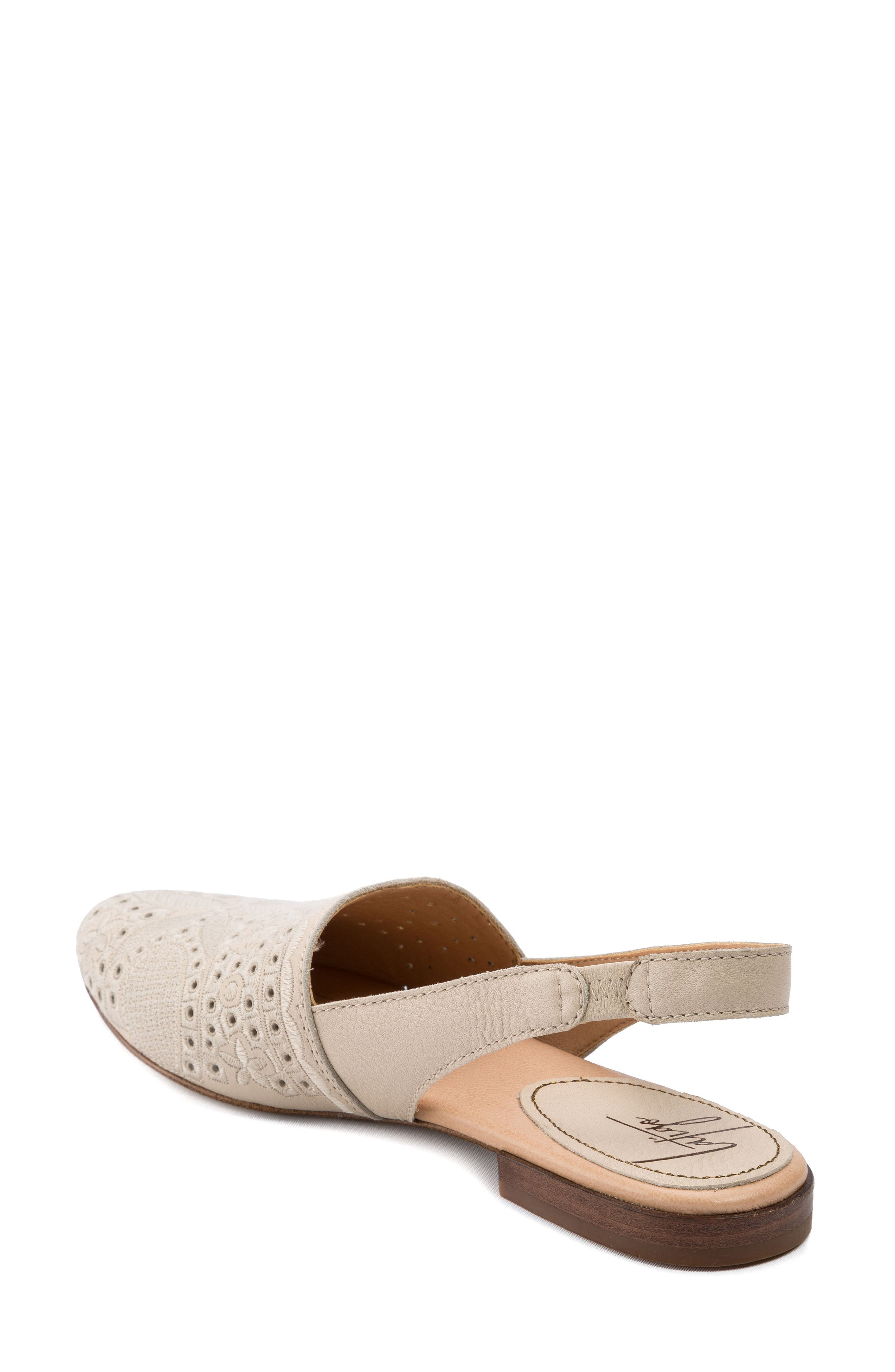 Ulu Embroidered Slingback Flat,                             Alternate thumbnail 2, color,                             Champagne
