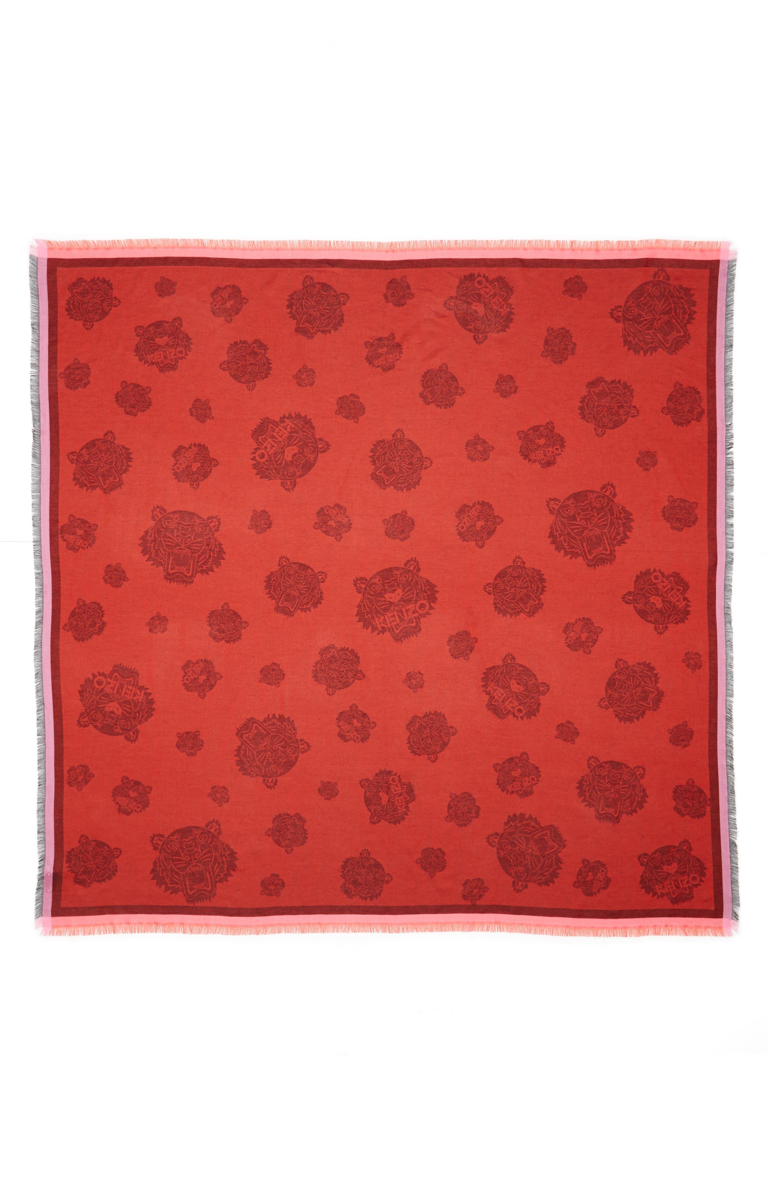 Tiger Square Scarf,                         Main,                         color, Medium Red