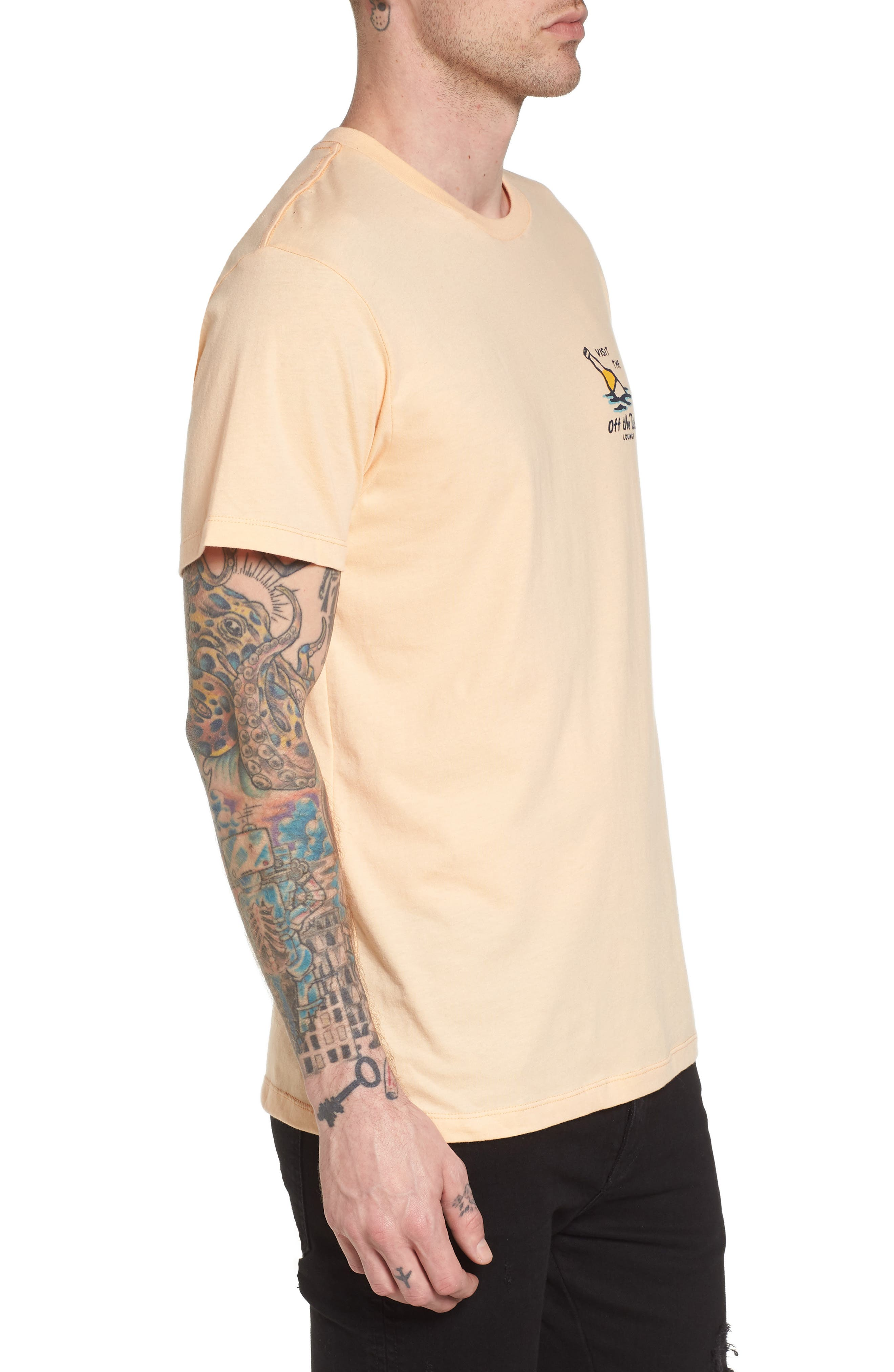 Off the Wall Lounge T-Shirt,                             Alternate thumbnail 3, color,                             Apricot Ice
