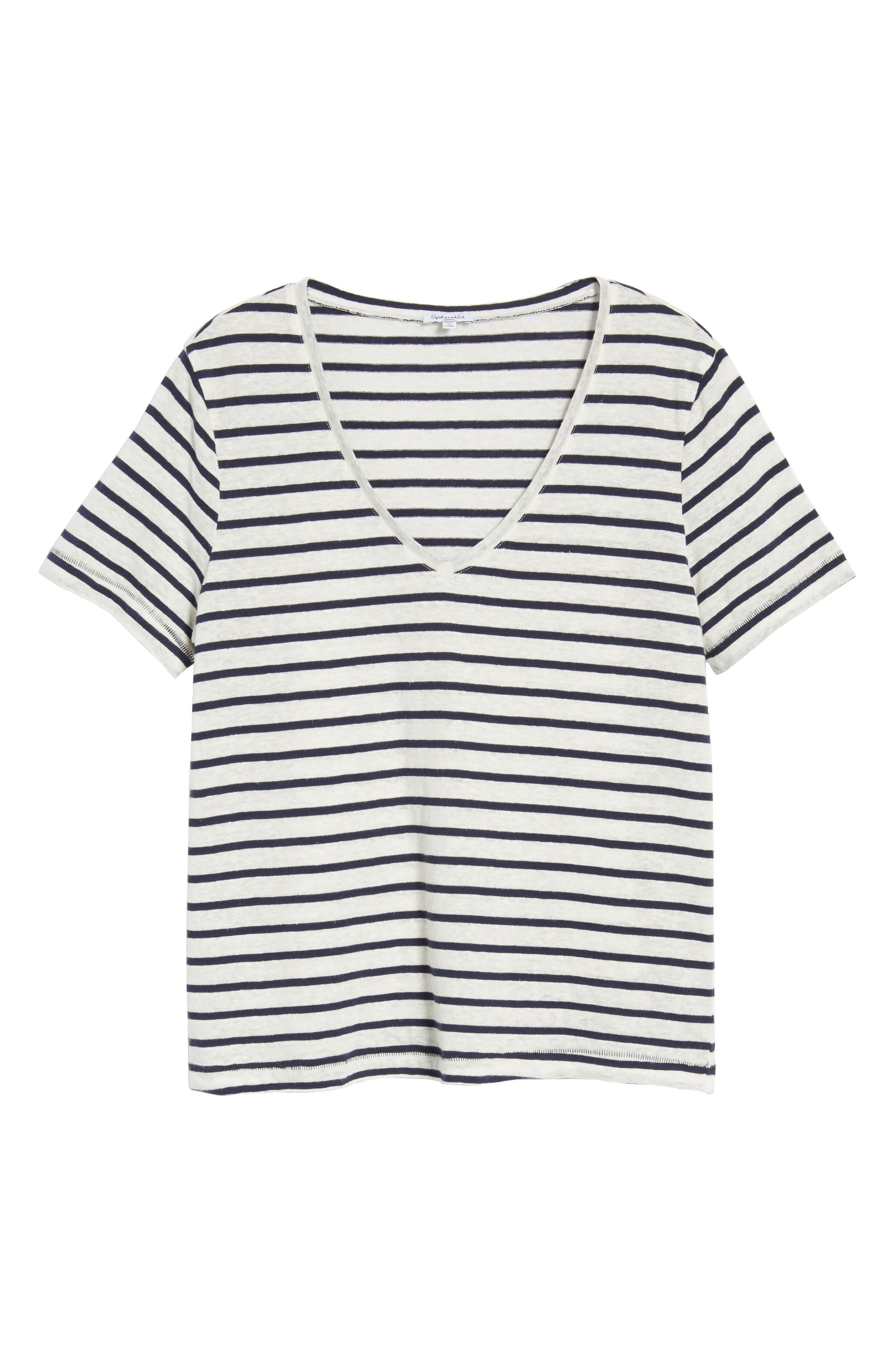 Stripe V-Neck Tee,                             Alternate thumbnail 6, color,                             Navy Stripe