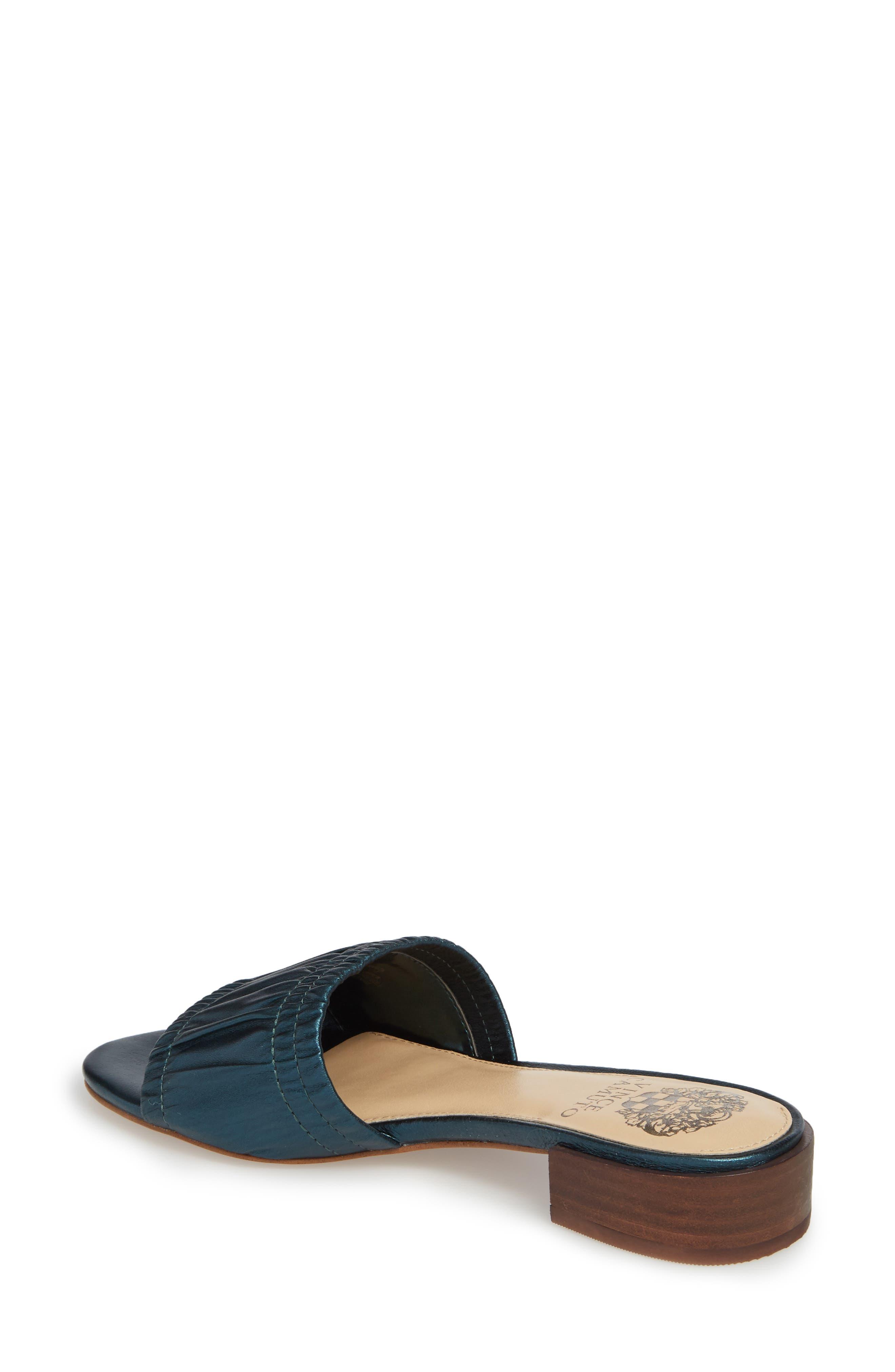 Nanita Pleated Slide Sandal,                             Alternate thumbnail 2, color,                             Metal Teal Fabric
