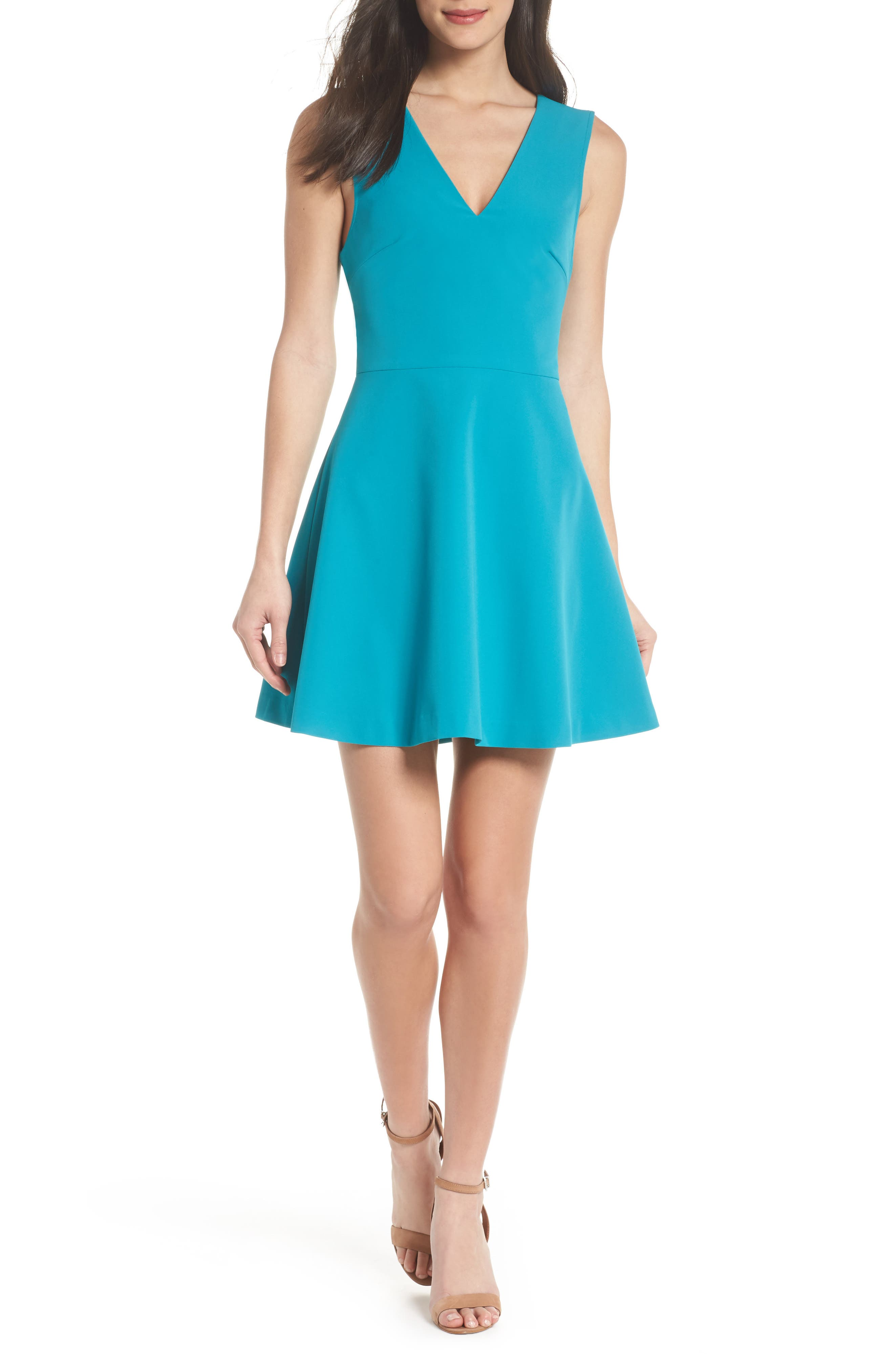 Bianca Back Cutout Fit & Flare Dress,                             Main thumbnail 1, color,                             Dark Turquoise