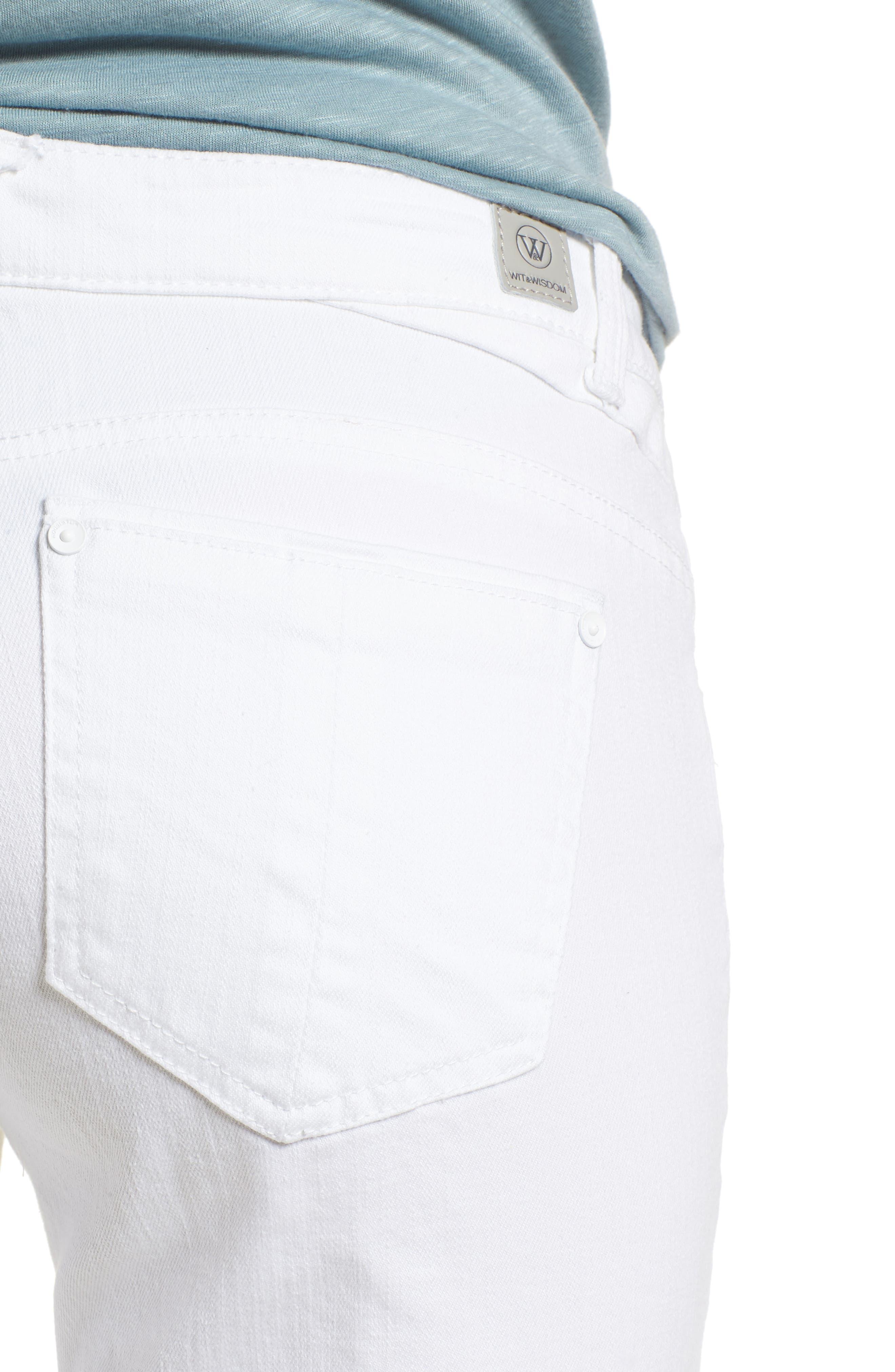 Flex-ellent Cuffed Boyfriend Jeans,                             Alternate thumbnail 4, color,                             Optic White