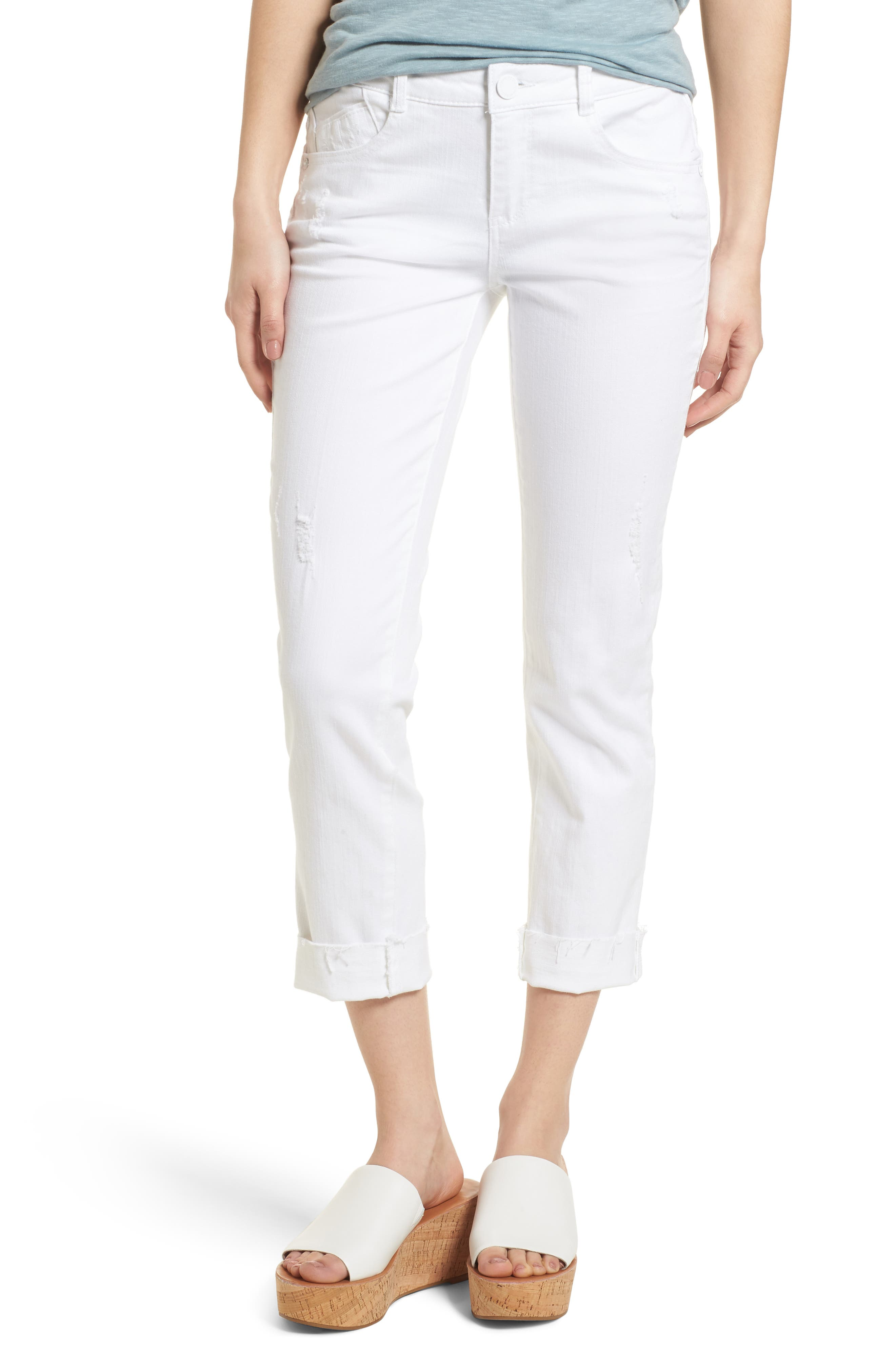 Wit & Wisdom Flex-ellent Cuffed Boyfriend Jeans (Optic White) (Nordstrom Exclusive)