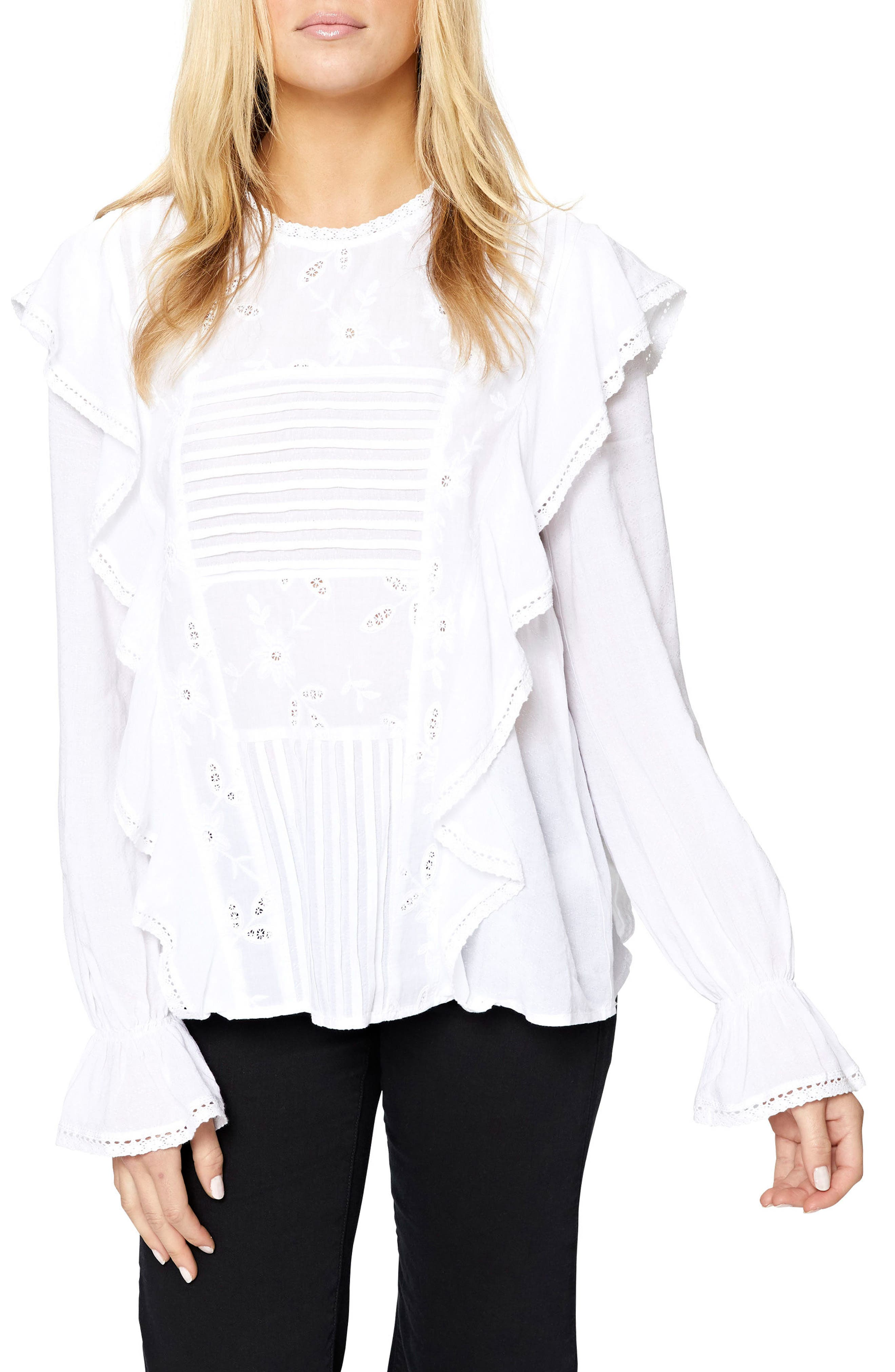 Poppy Ruffle Blouse,                         Main,                         color, White