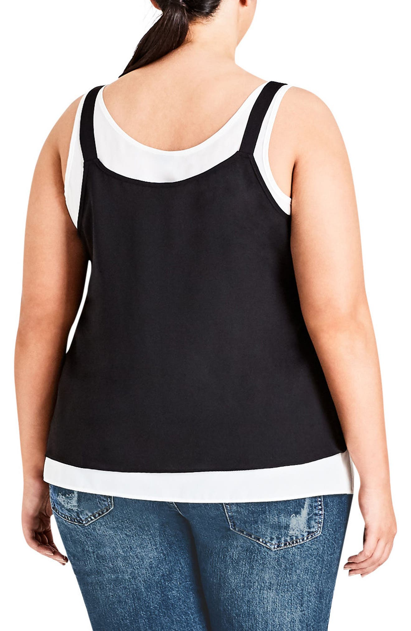 Alternate Image 2  - City Chic Double Up Tank Top (Plus Size)