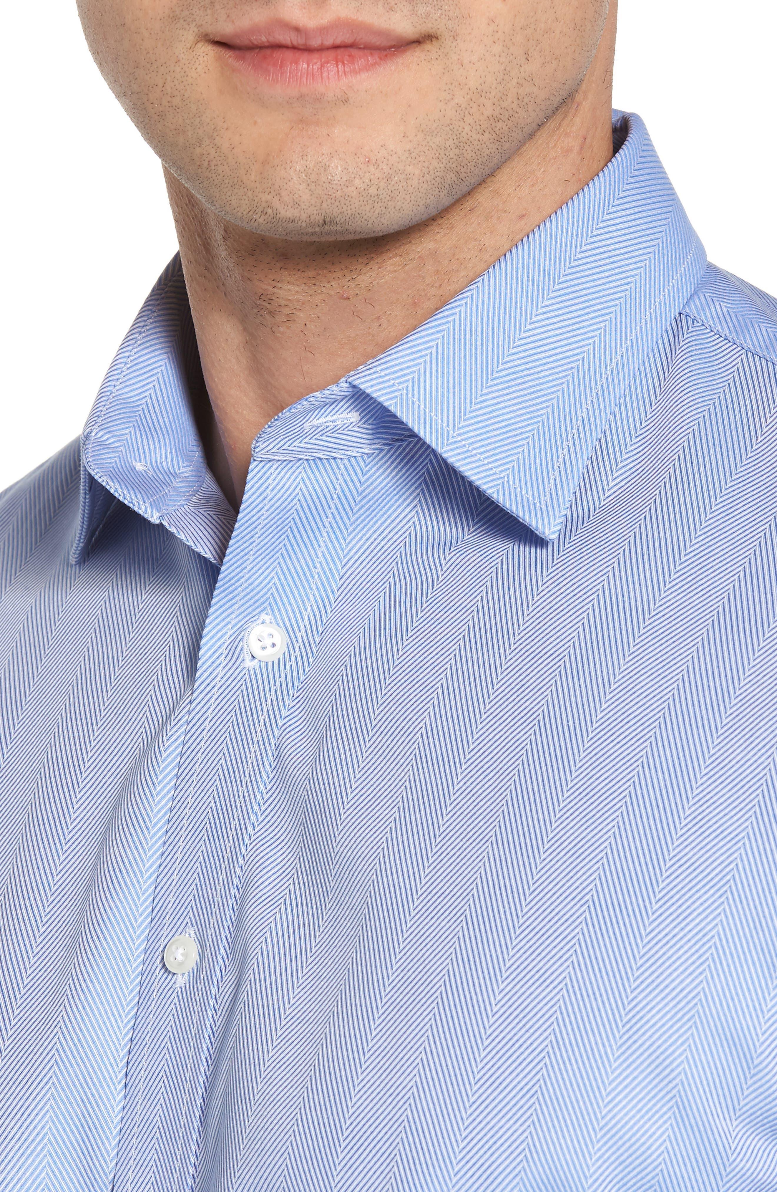 Traditional Fit Herringbone Dress Shirt,                             Alternate thumbnail 2, color,                             Blue Provence