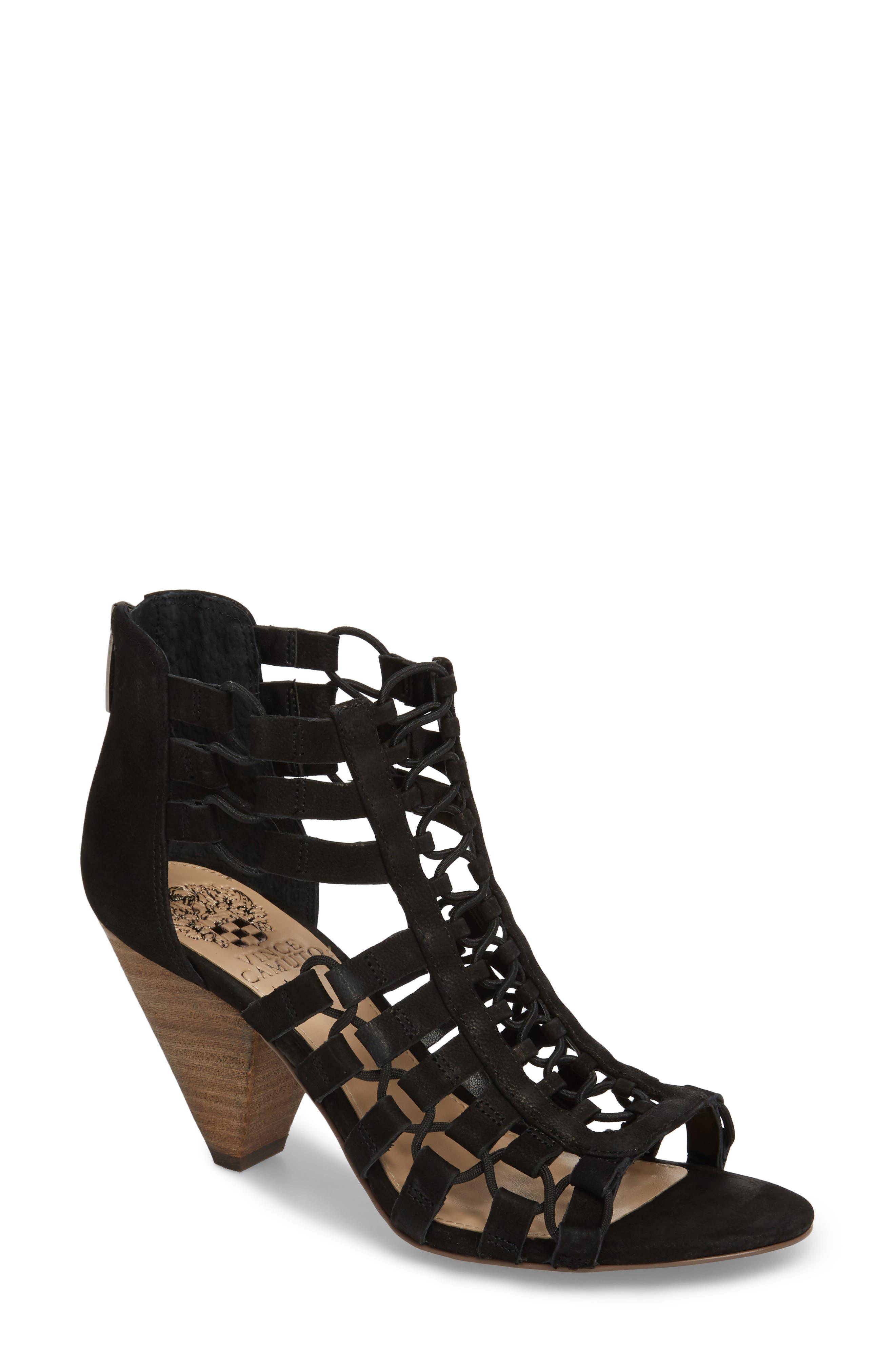 Elanso Sandal,                             Main thumbnail 1, color,                             Black Leather