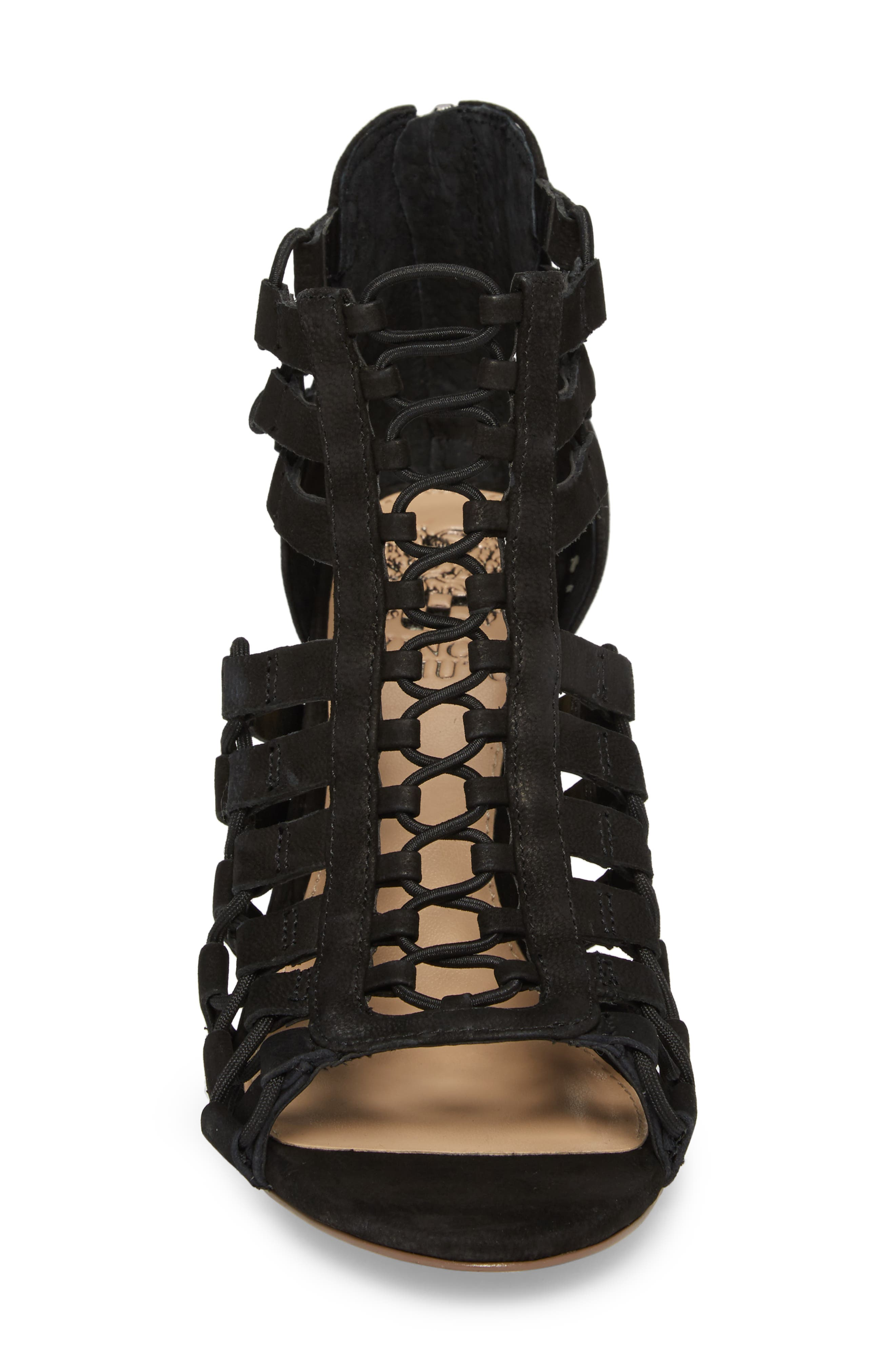 Elanso Sandal,                             Alternate thumbnail 4, color,                             Black Leather