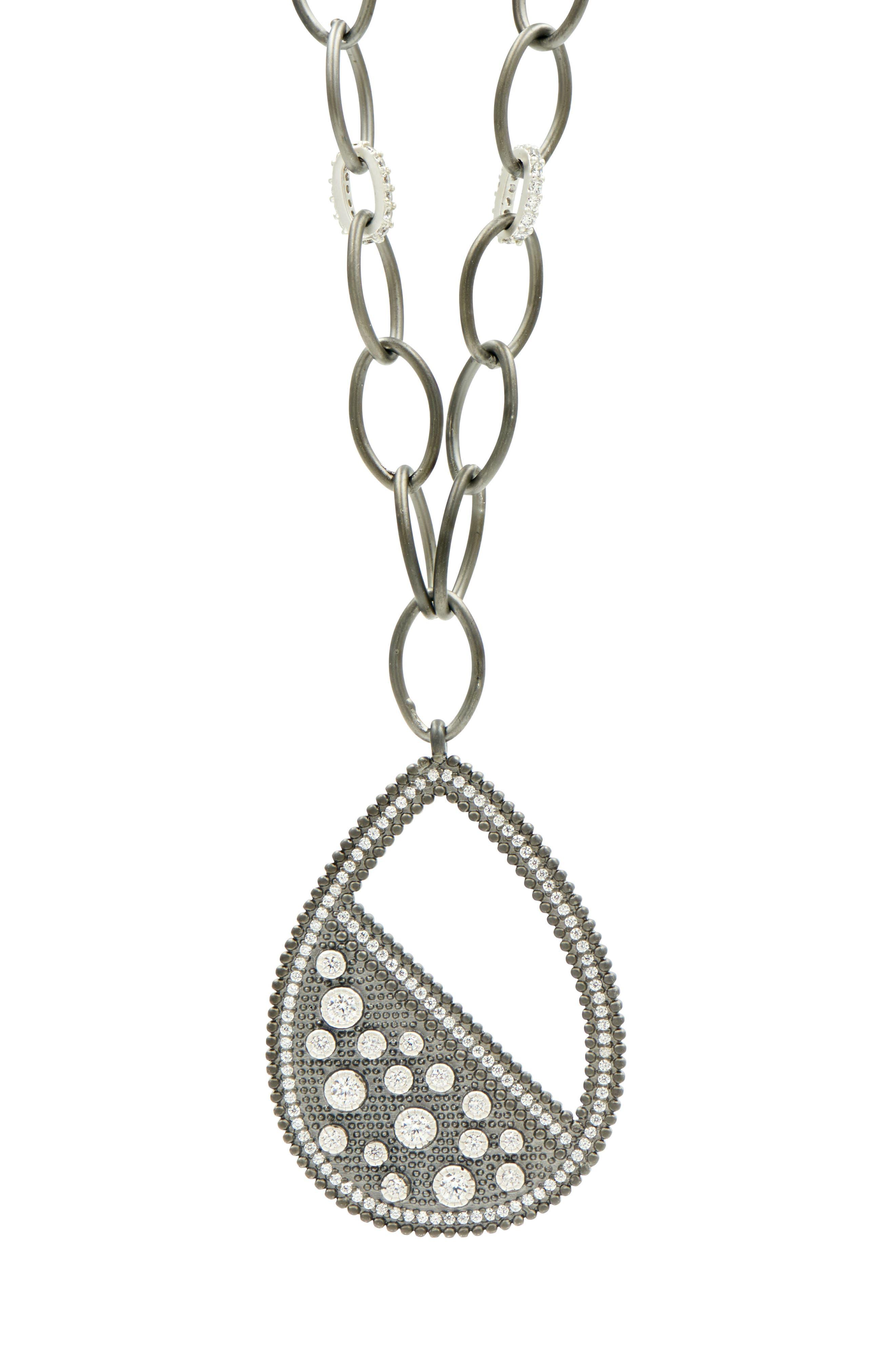 Industrial Finish Teardrop Necklace,                             Alternate thumbnail 4, color,                             Silver/ Black Rhodium