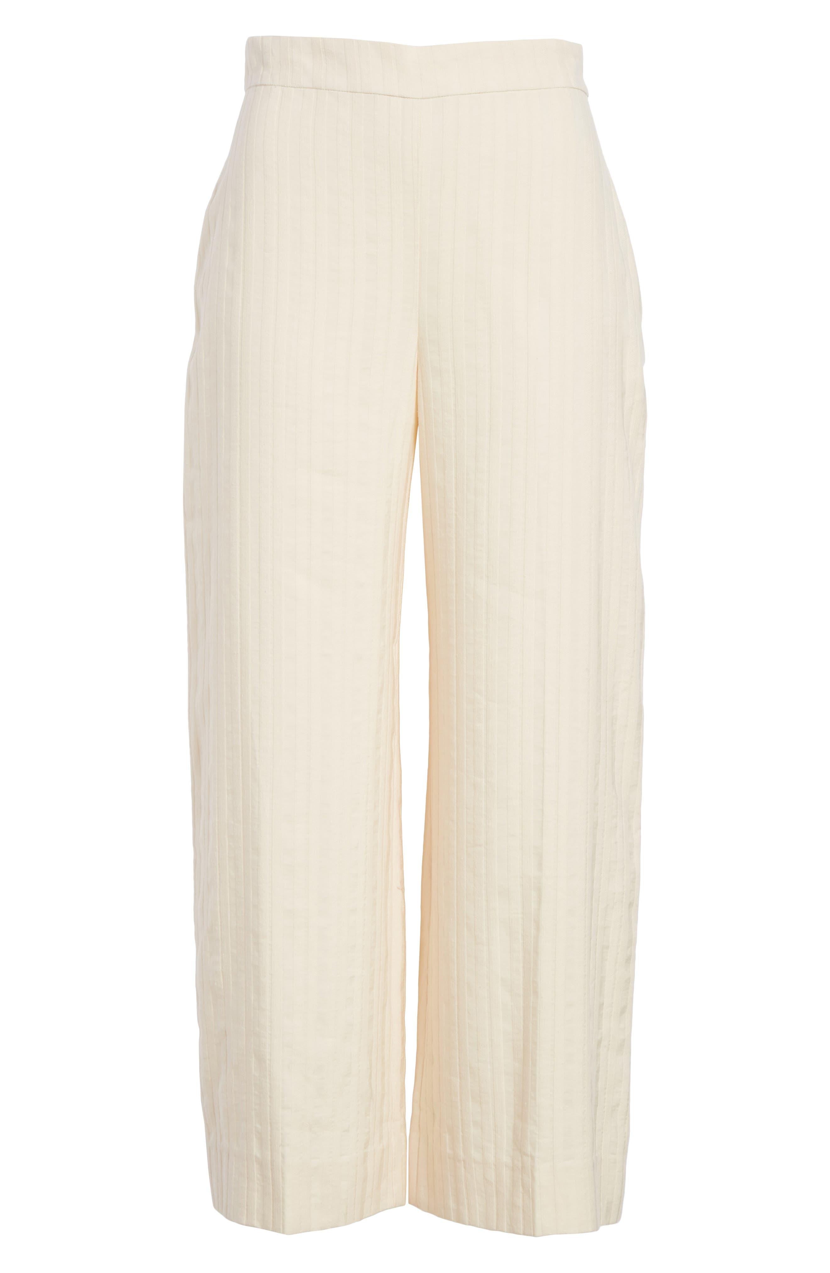 Textured Stripe Crop Pants,                             Alternate thumbnail 6, color,                             Creme Brulee
