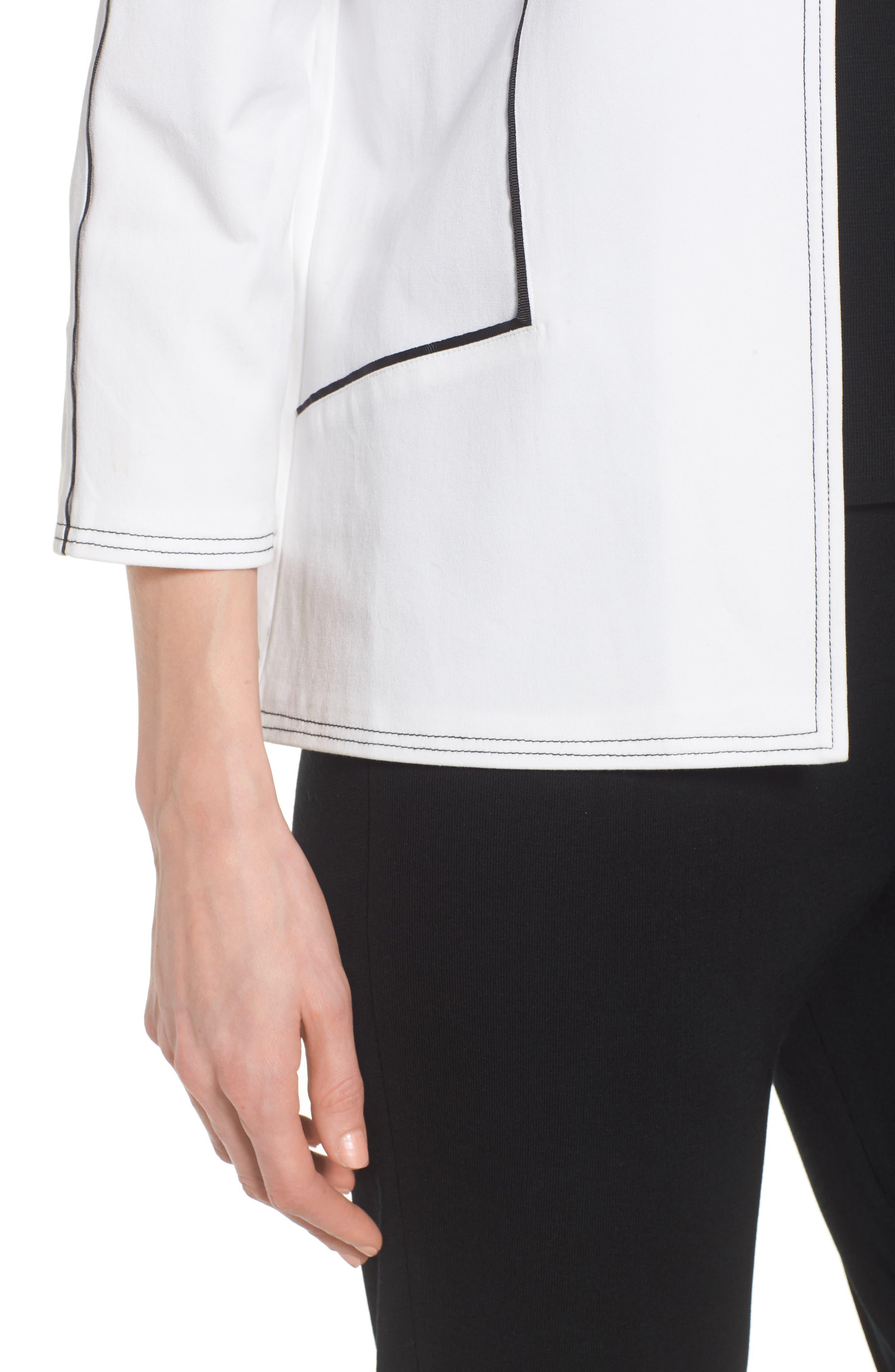 Mandarin Collar Stitch Trim Jacket,                             Alternate thumbnail 4, color,                             White/ Black