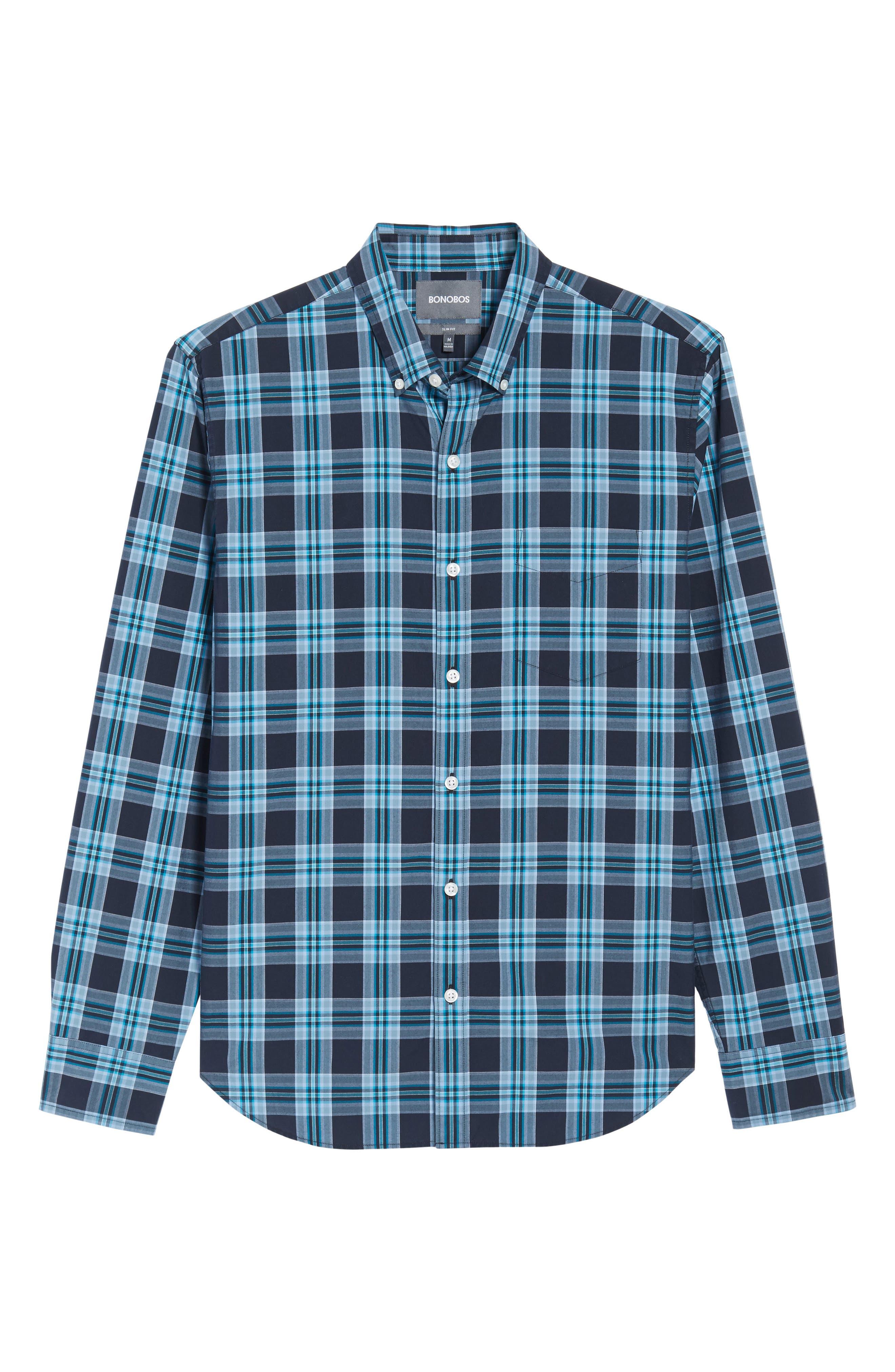 Slim Fit Washed Plaid Sport Shirt,                             Alternate thumbnail 6, color,                             Night Swim