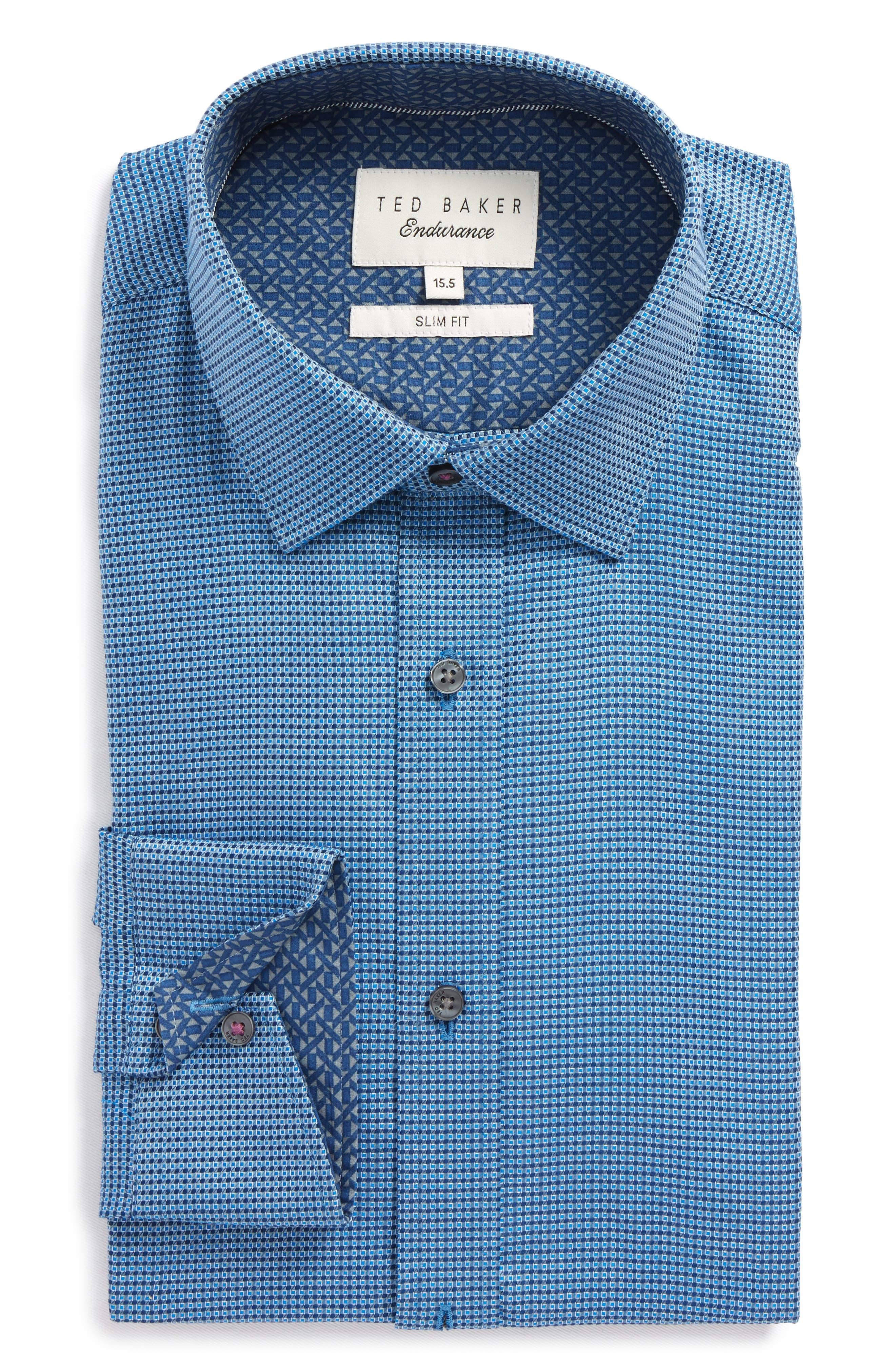 Endurance Slim Fit Box Twill Dress Shirt,                             Main thumbnail 1, color,                             Navy