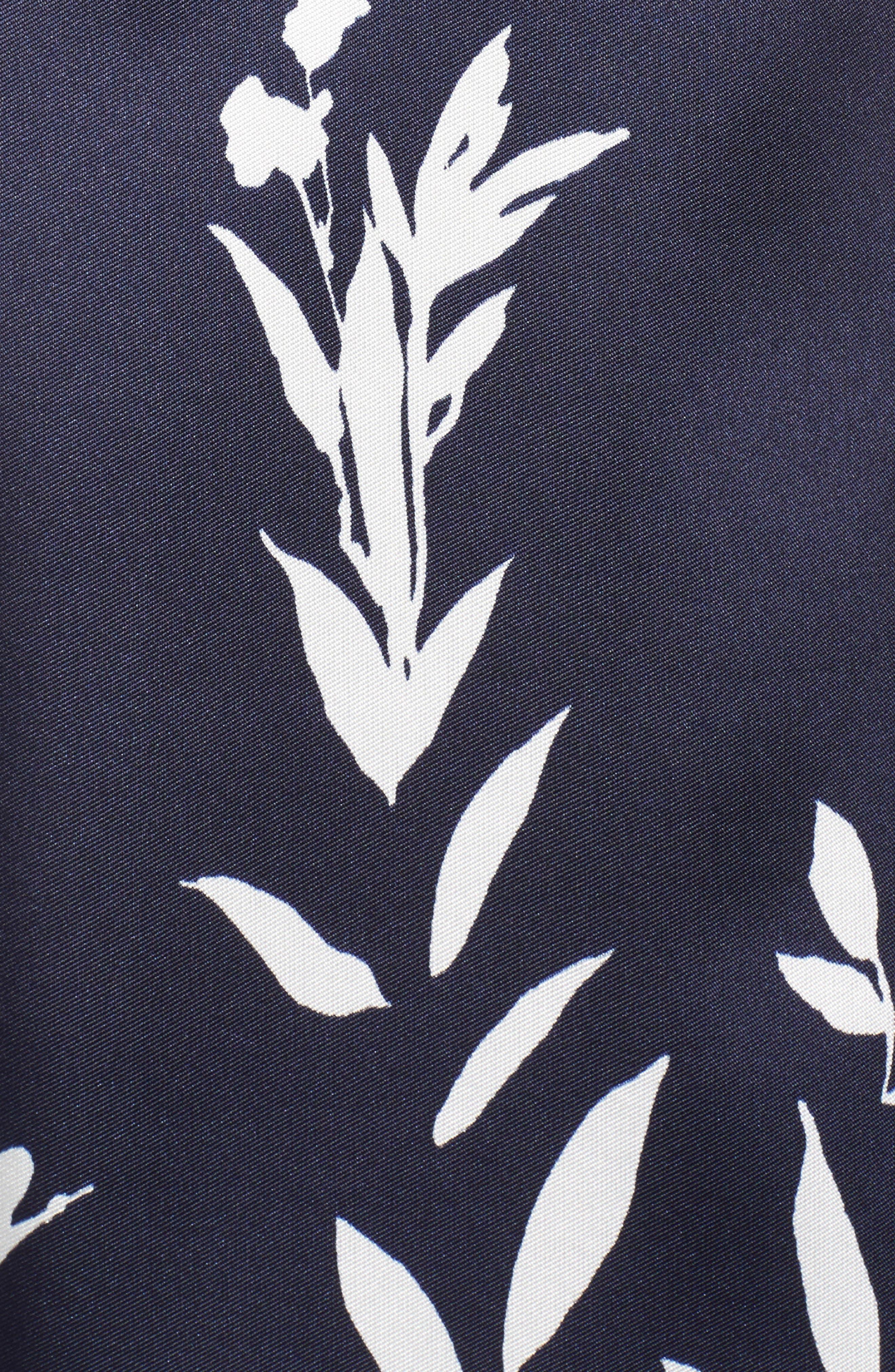 Mikado Illusion V Neck Gown,                             Alternate thumbnail 5, color,                             Navy/ White