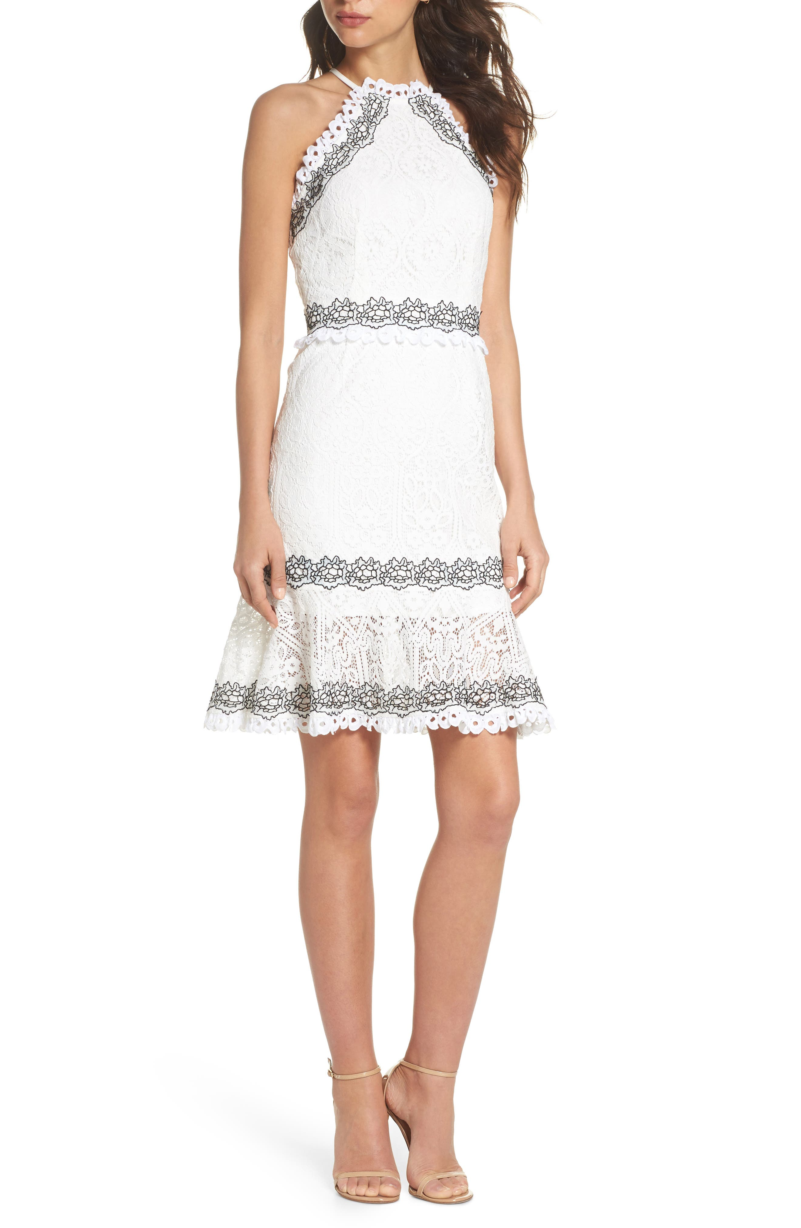 Frances Embroidered Lace Halter Dress,                             Main thumbnail 1, color,                             Offwhite