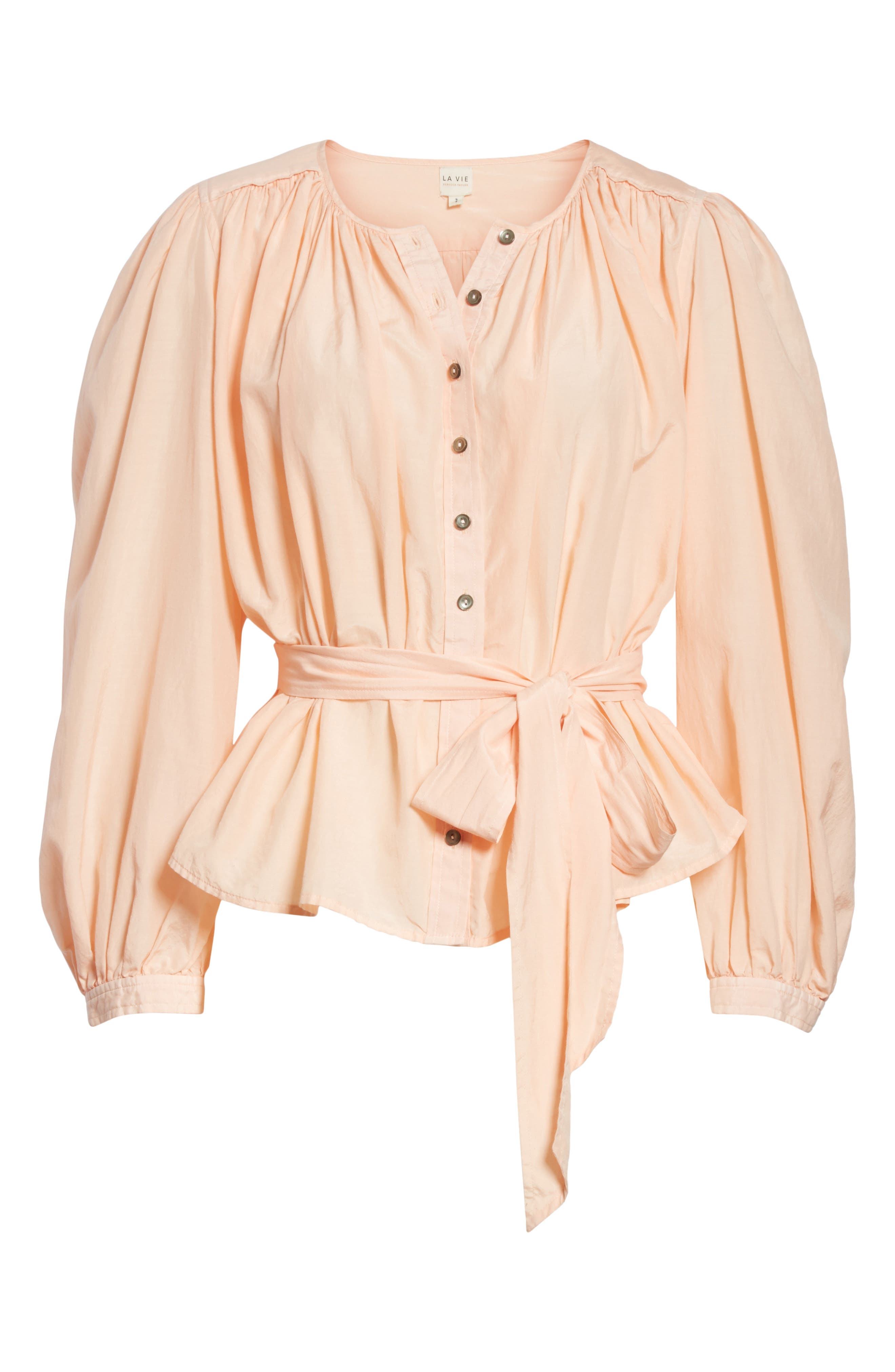 Belted Cotton & Silk Top,                             Alternate thumbnail 6, color,                             Rose Cloud