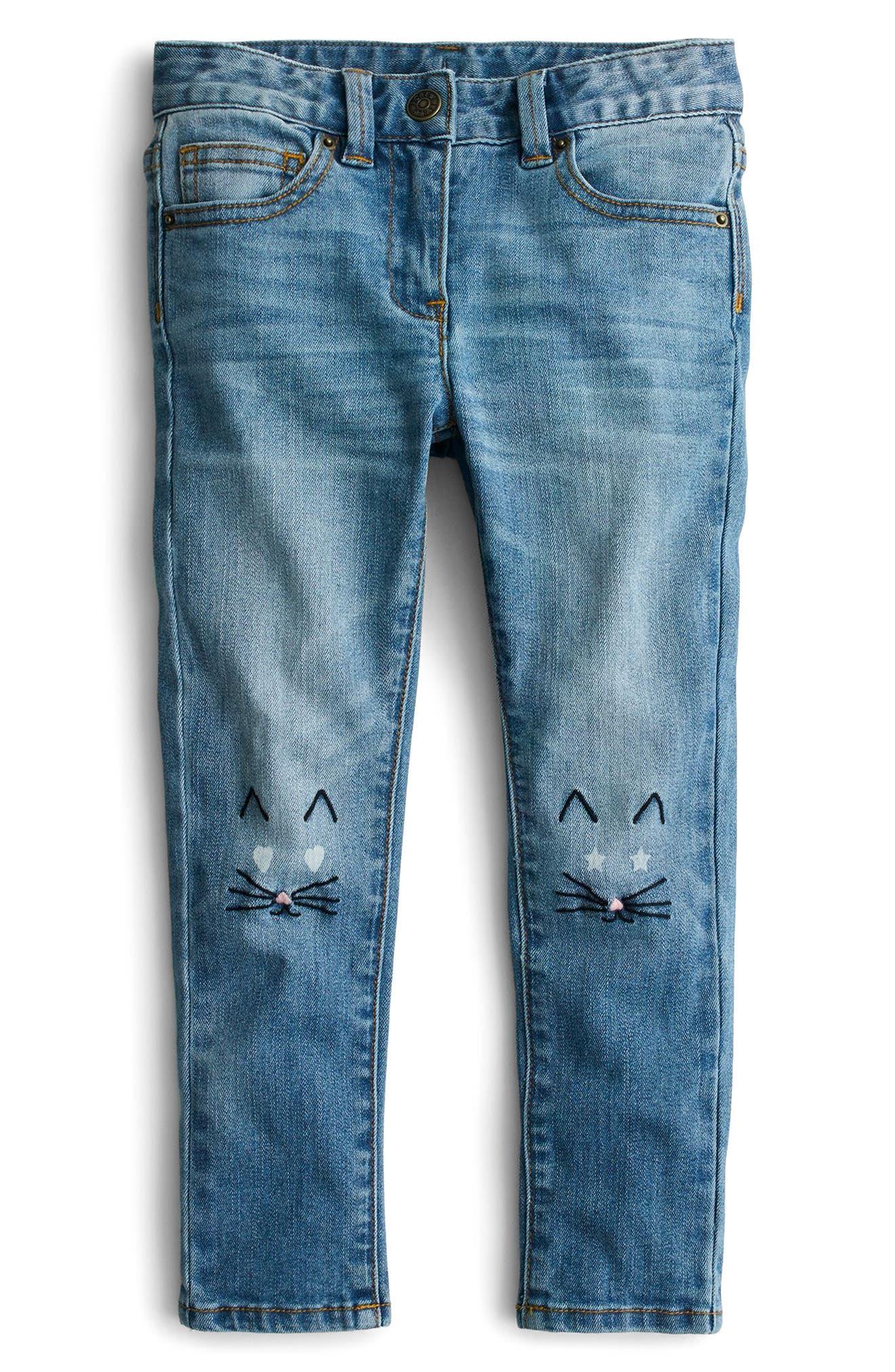 Toothpick Kitten Embroidered Jeans,                             Main thumbnail 1, color,                             Indigo