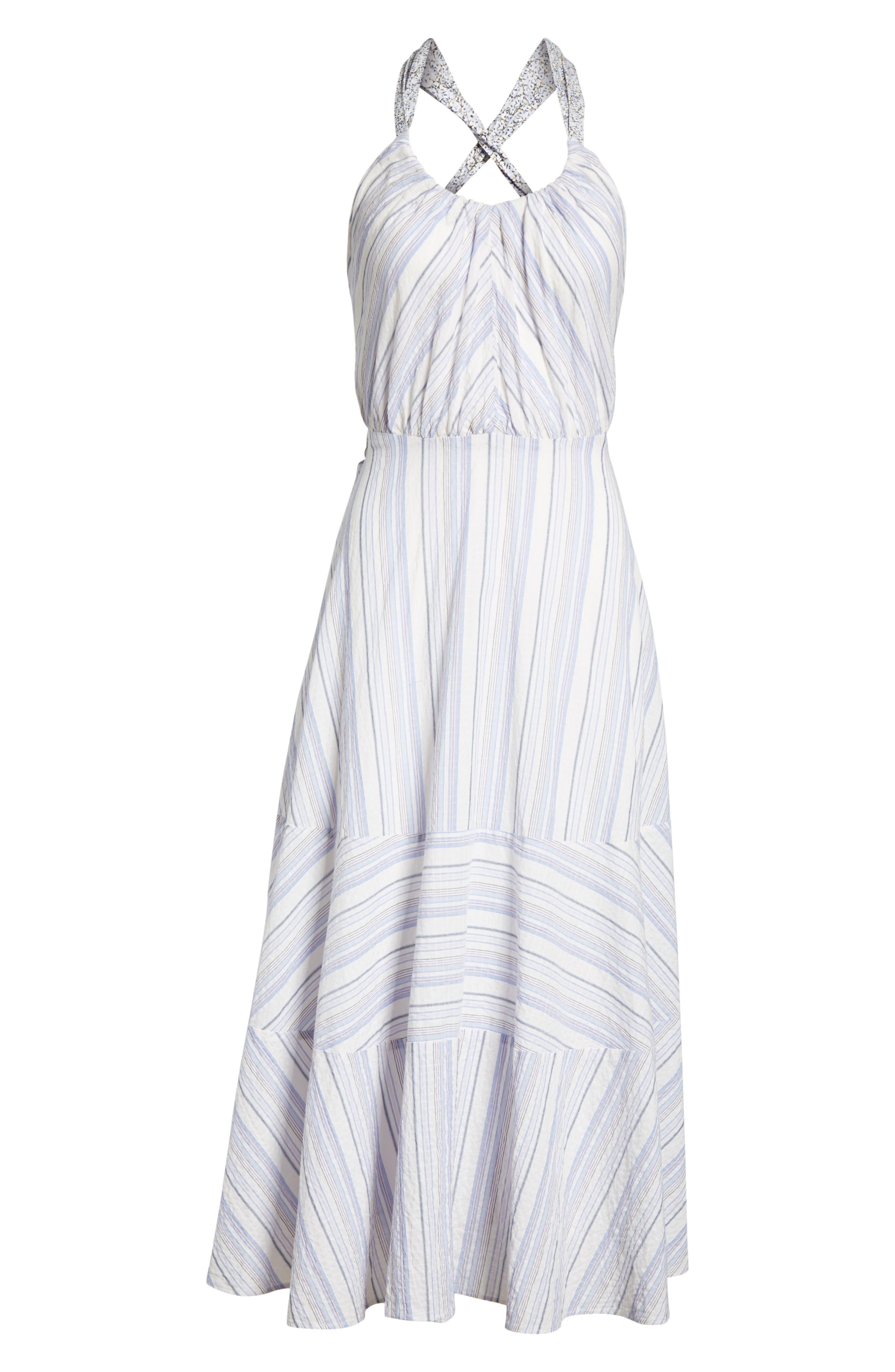 Leila Stripe Midi Dress,                             Alternate thumbnail 6, color,                             Iris Combo