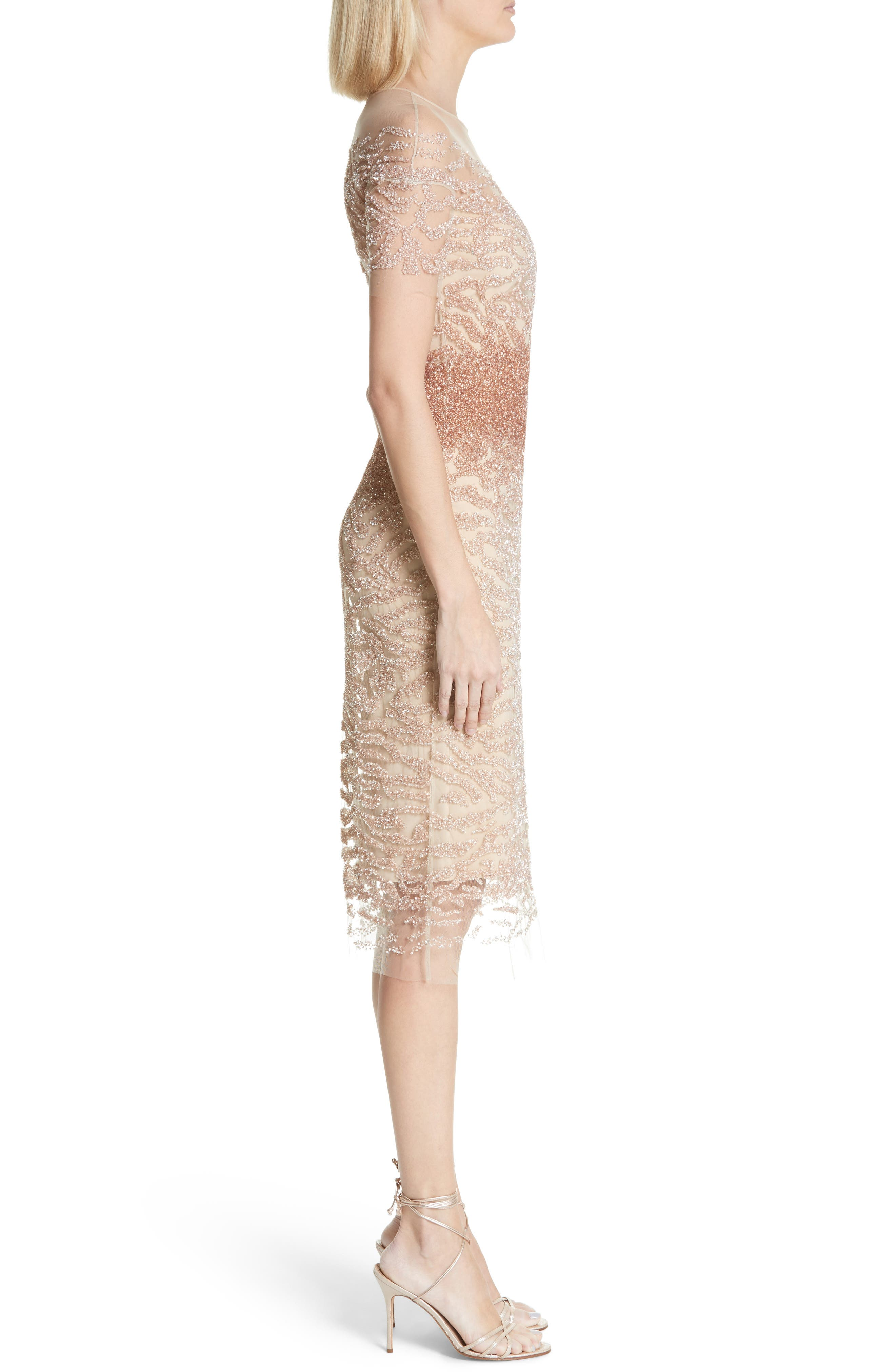 Beaded Illusion Dress,                             Alternate thumbnail 3, color,                             Gold/ Copper Ombre