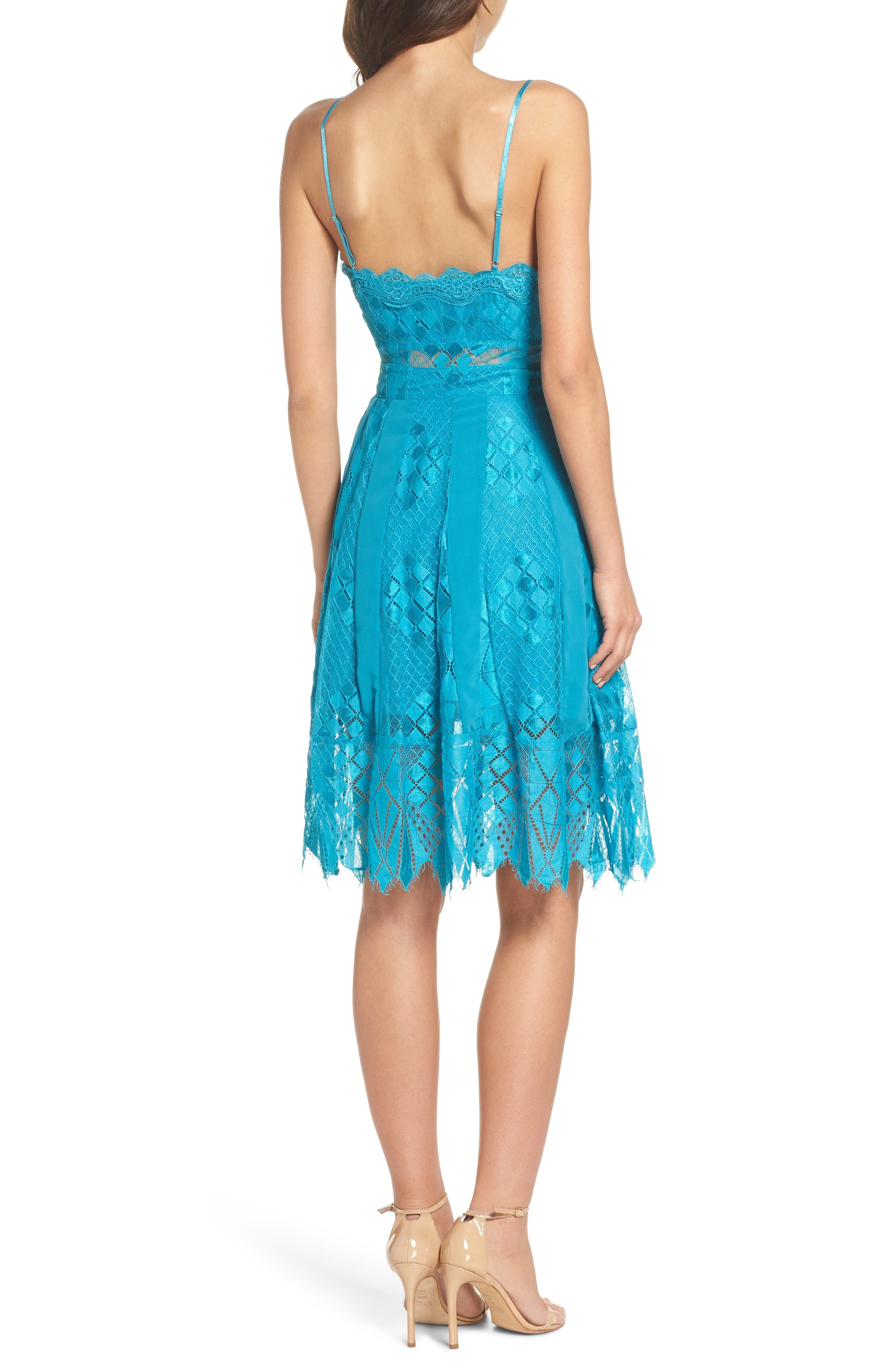 Calla Geometric Lace Dress,                             Alternate thumbnail 2, color,                             Light Blue