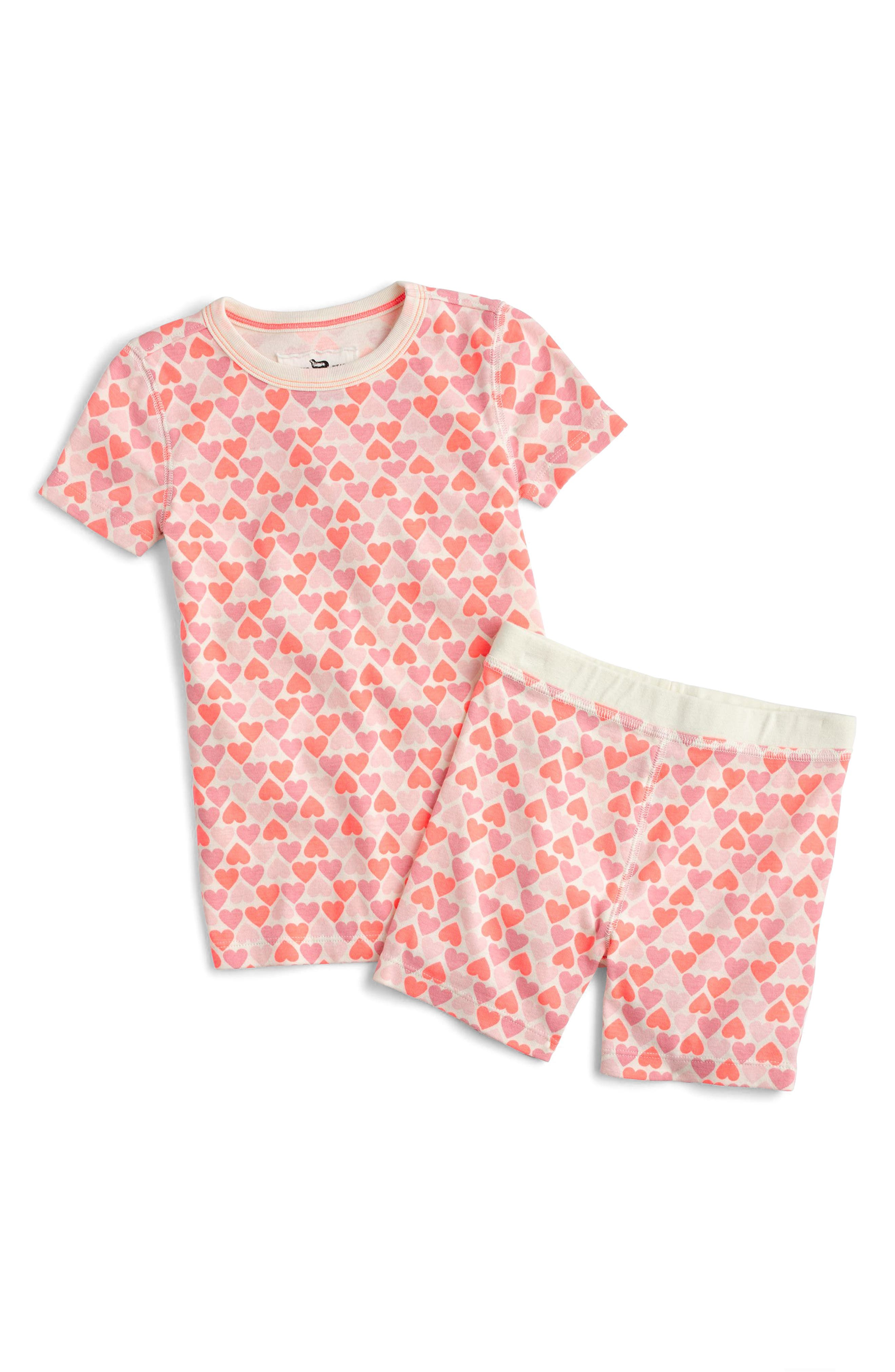 Stacked Hearts Fitted Two-Piece Pajamas,                             Main thumbnail 1, color,                             Neon Sunrise
