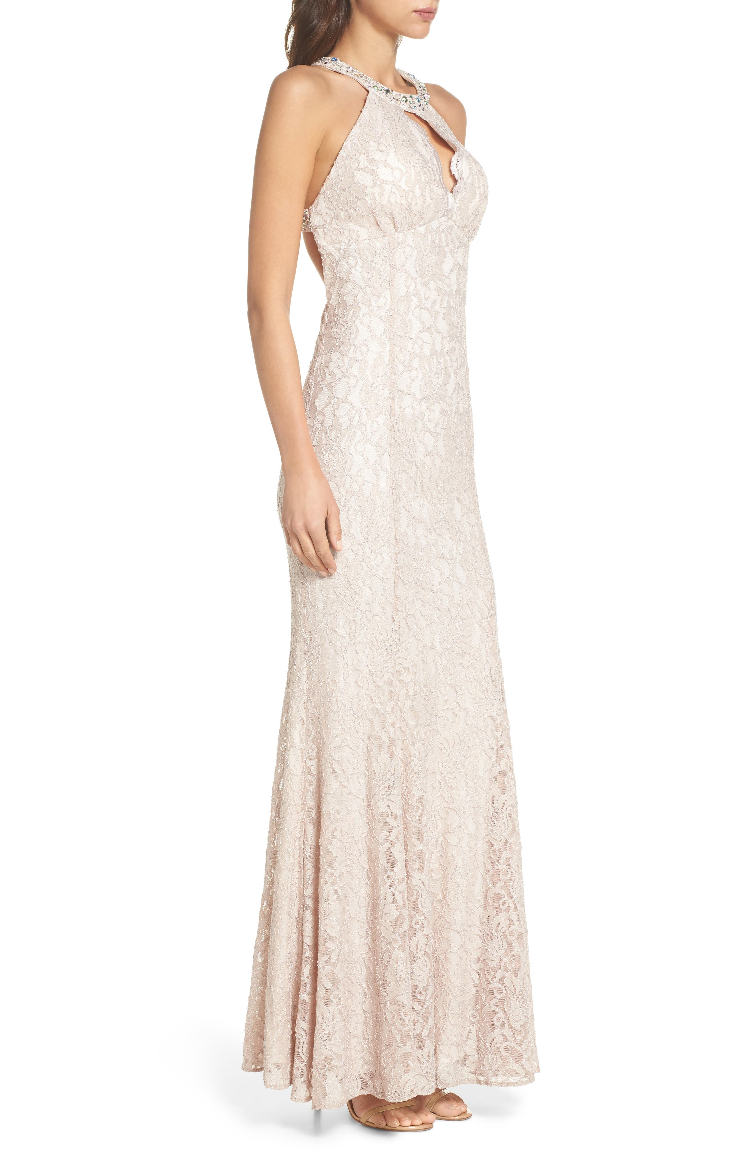 Embellished Lace Gown,                             Alternate thumbnail 3, color,                             Champagne / Ivory