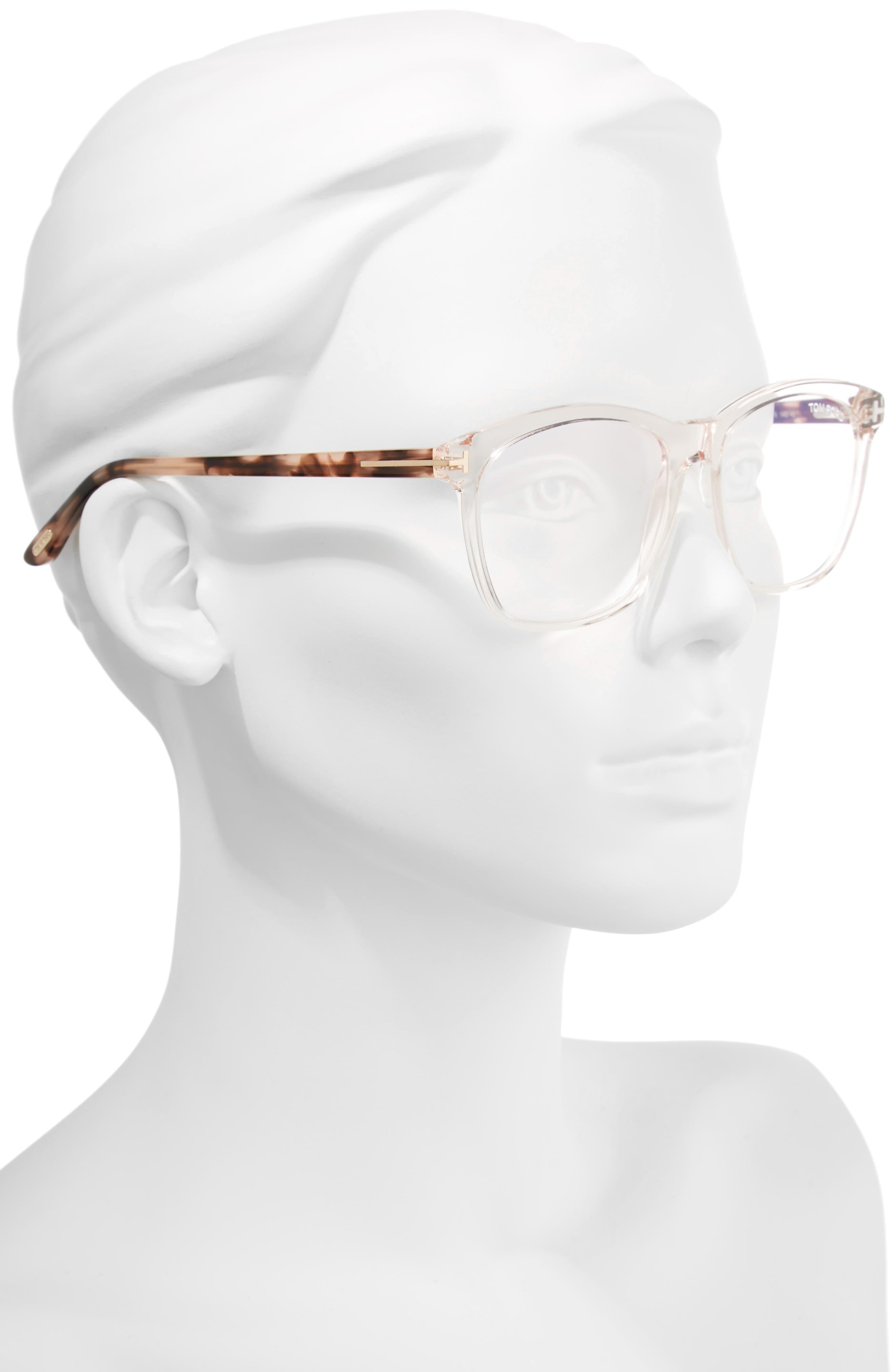 54mm Blue Block Optical Glasses,                             Alternate thumbnail 2, color,                             Shiny Pink/ Vintage Havana