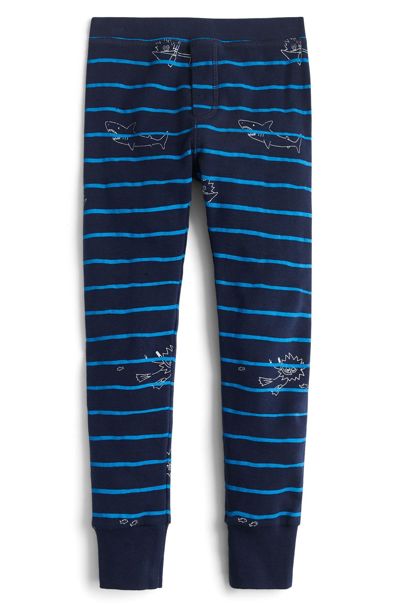 Scuba Stripe Fitted Two-Piece Pajamas,                             Alternate thumbnail 2, color,                             Navy
