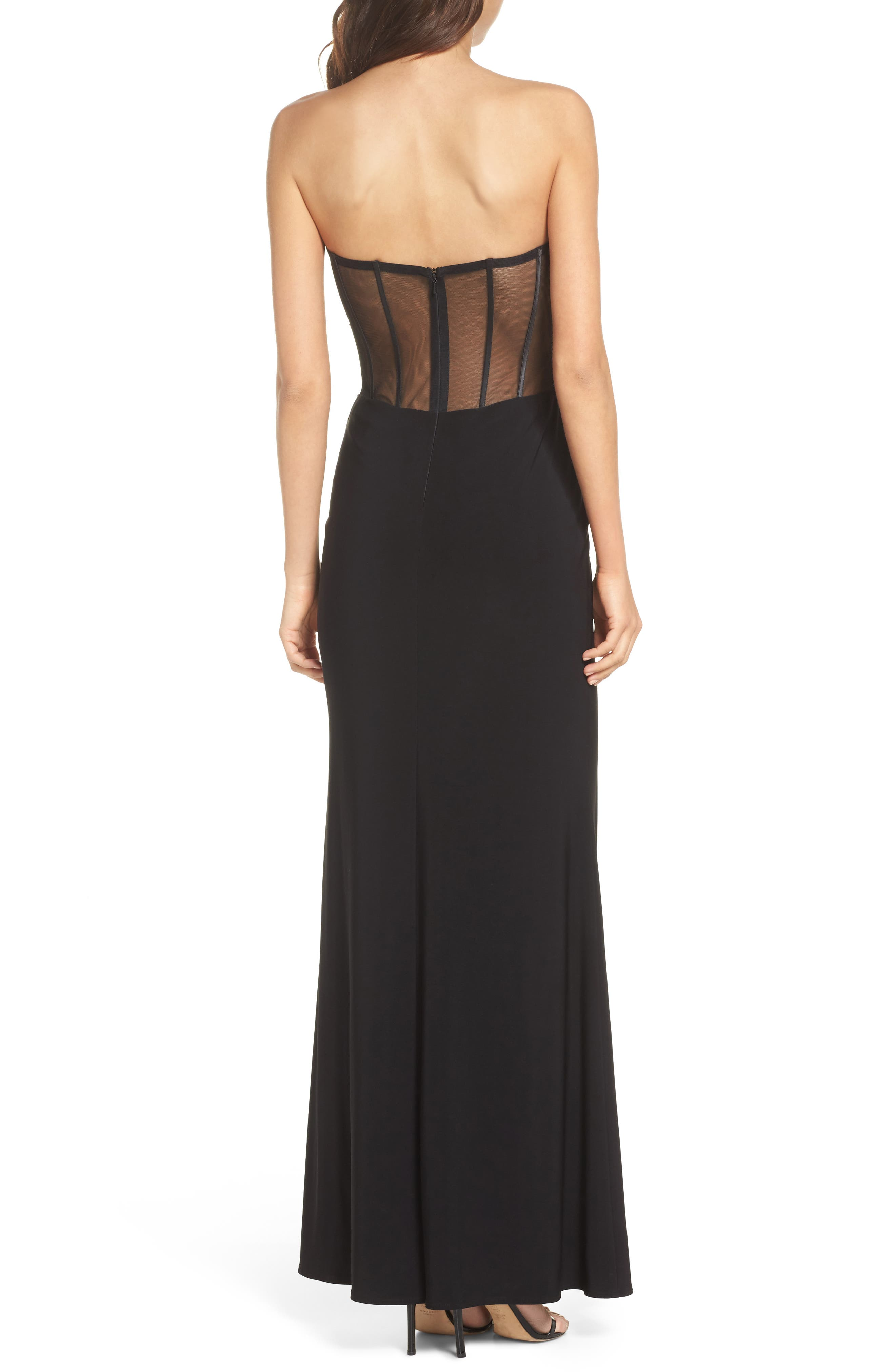 Embroidered Strapless Gown,                             Alternate thumbnail 2, color,                             Black/ Multi
