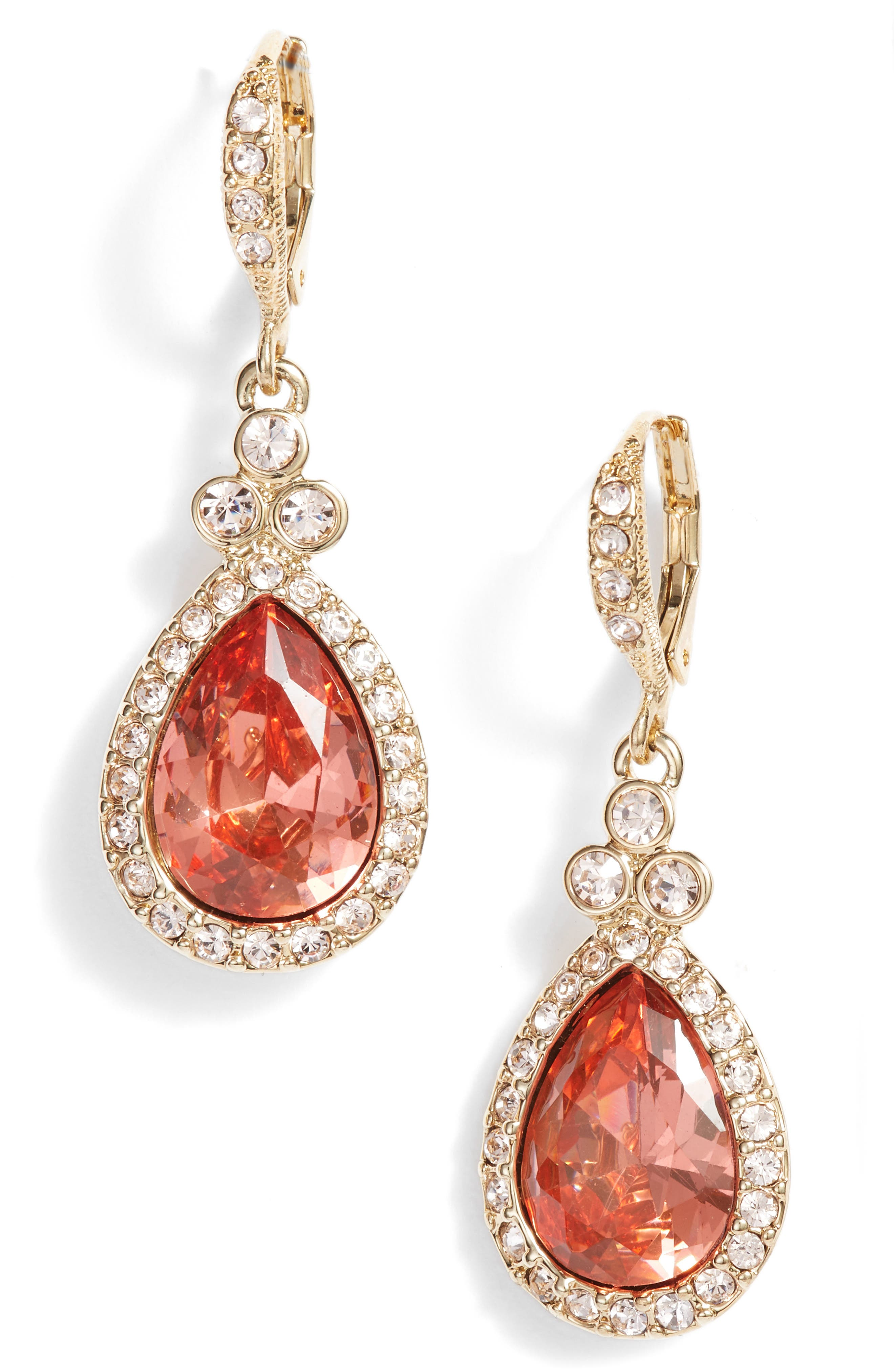 Pavé Pear Drop Earrings,                             Main thumbnail 1, color,                             Gold/ Peach/ Silk