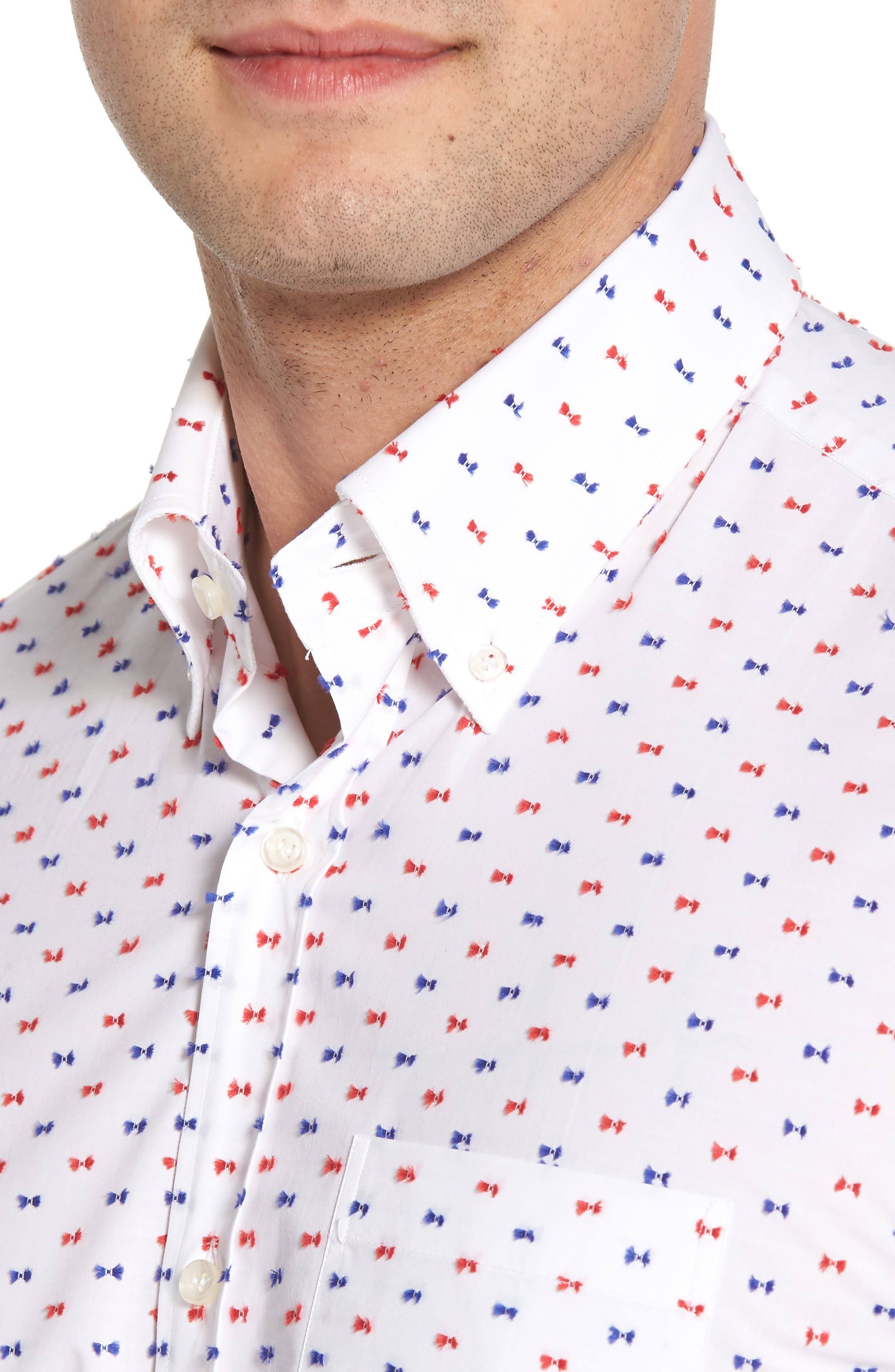 Paul&Shark Regular Fit Feathered Sport Shirt,                             Alternate thumbnail 4, color,                             White
