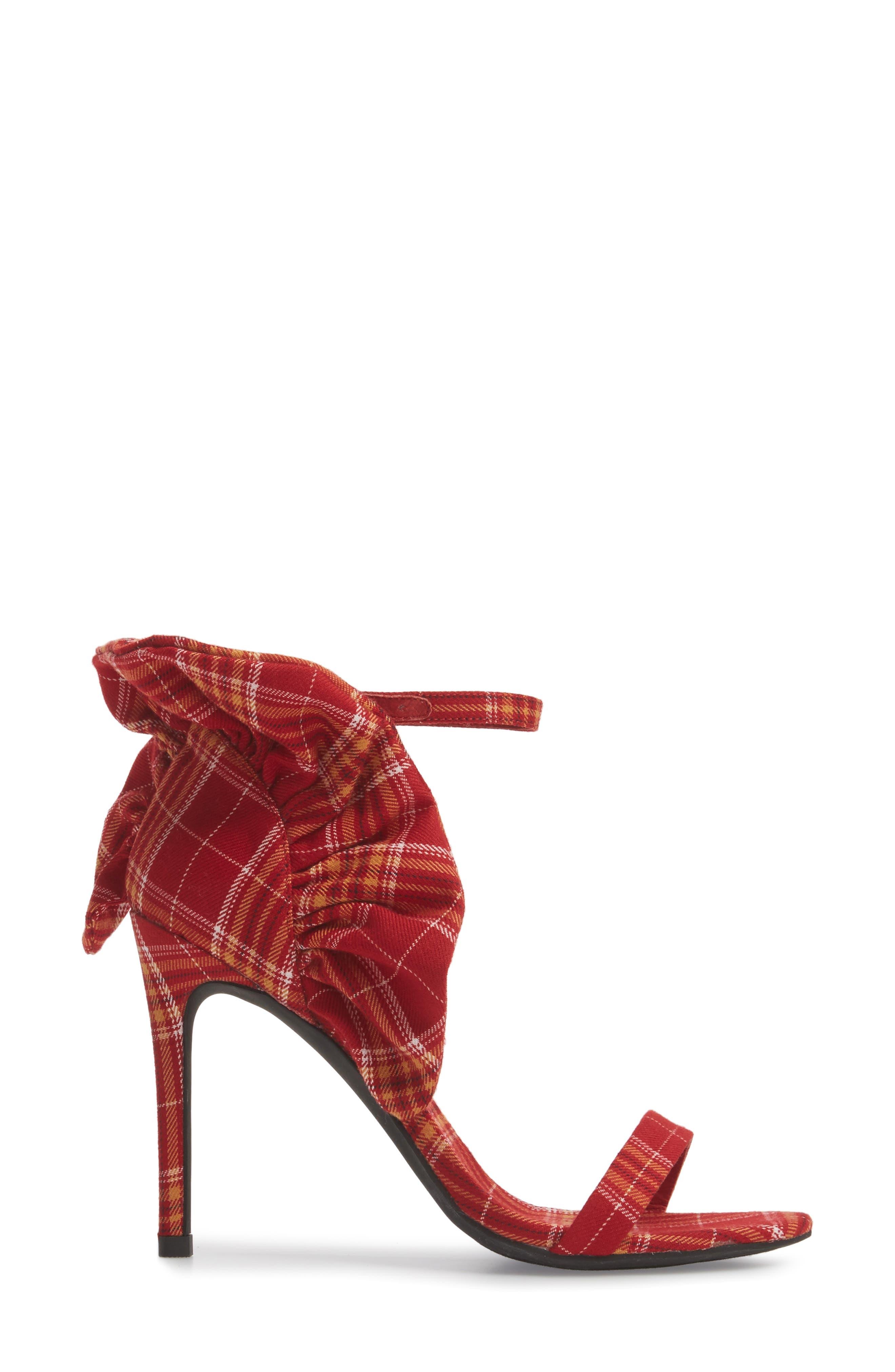 Cheshire Ruffle Sandal,                             Alternate thumbnail 3, color,                             Red Plaid Fabric