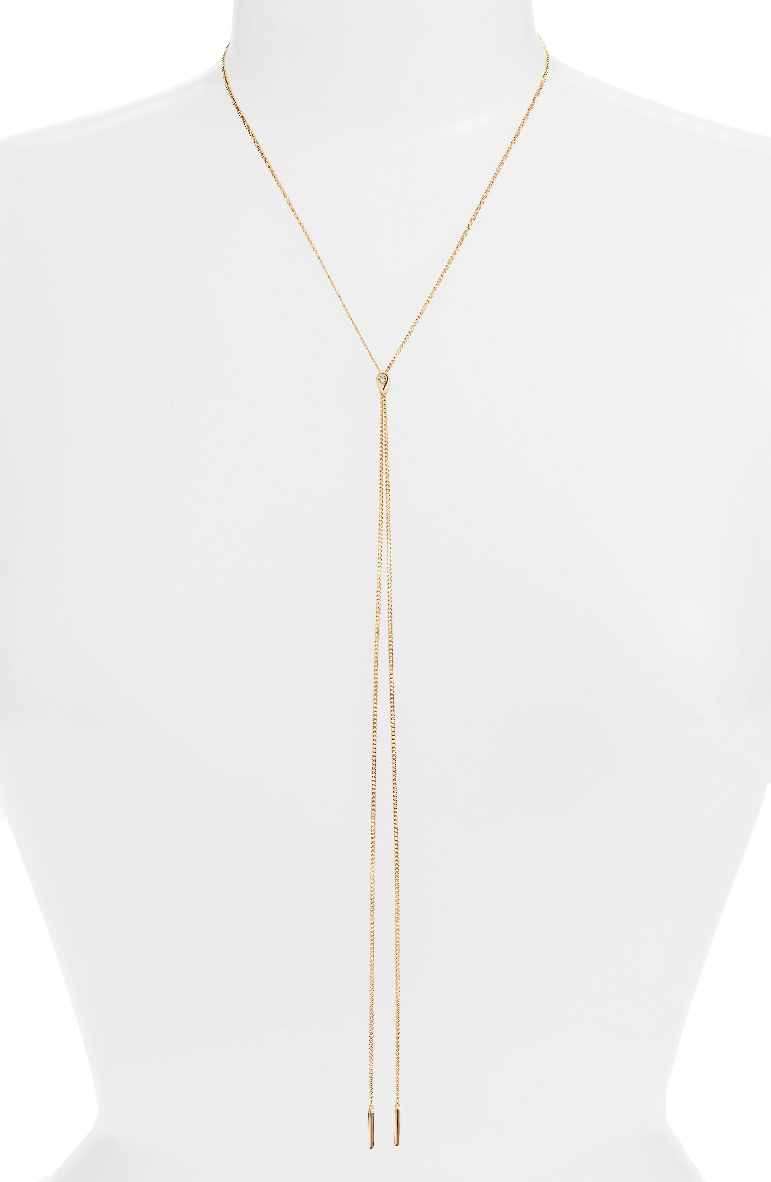 Teardrop Charm Necklace,                         Main,                         color, Gold
