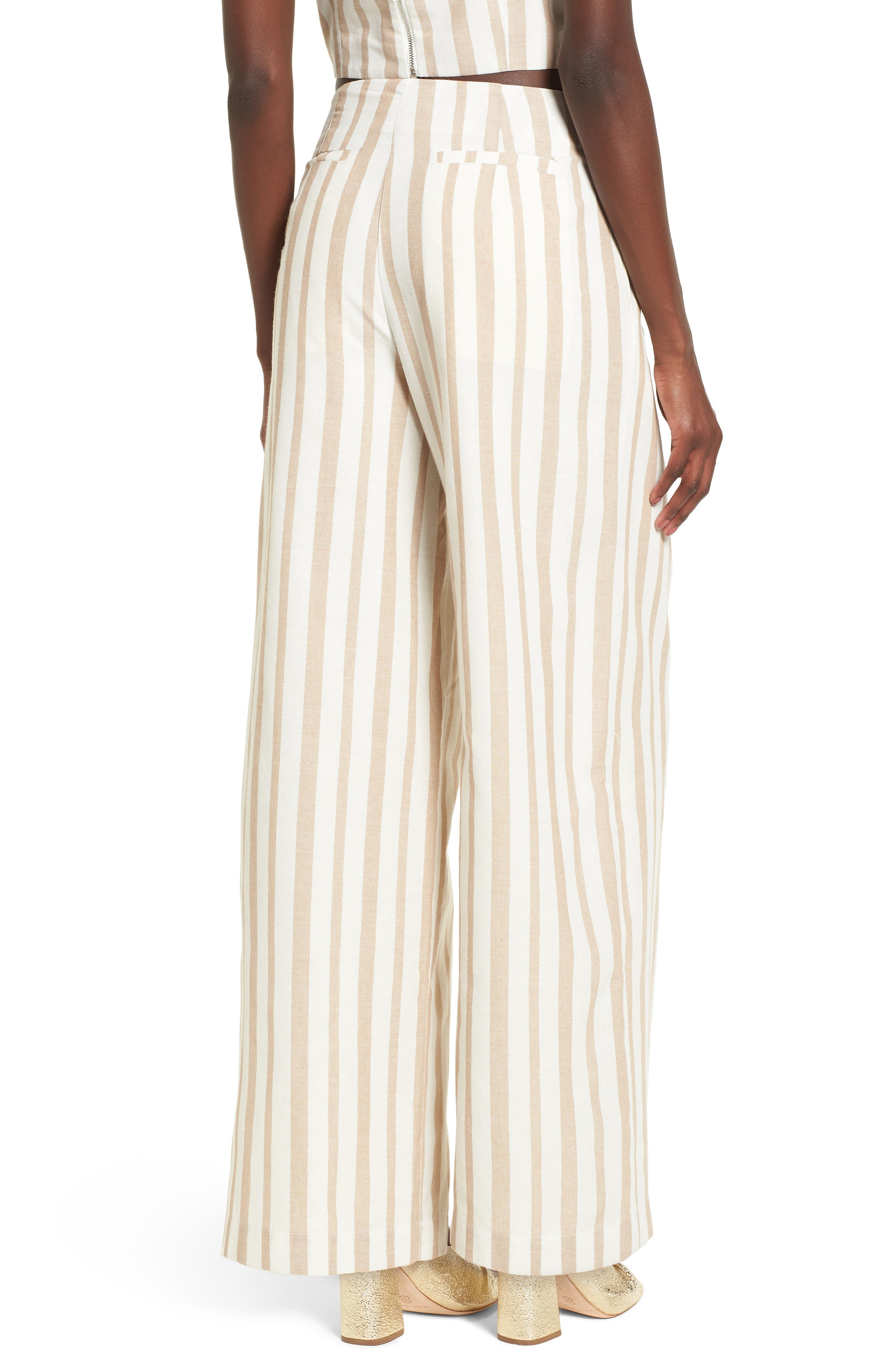 Chriselle x J.O.A. Lace-Up High Waist Wide Leg Pants,                             Alternate thumbnail 7, color,                             Sand Stripe