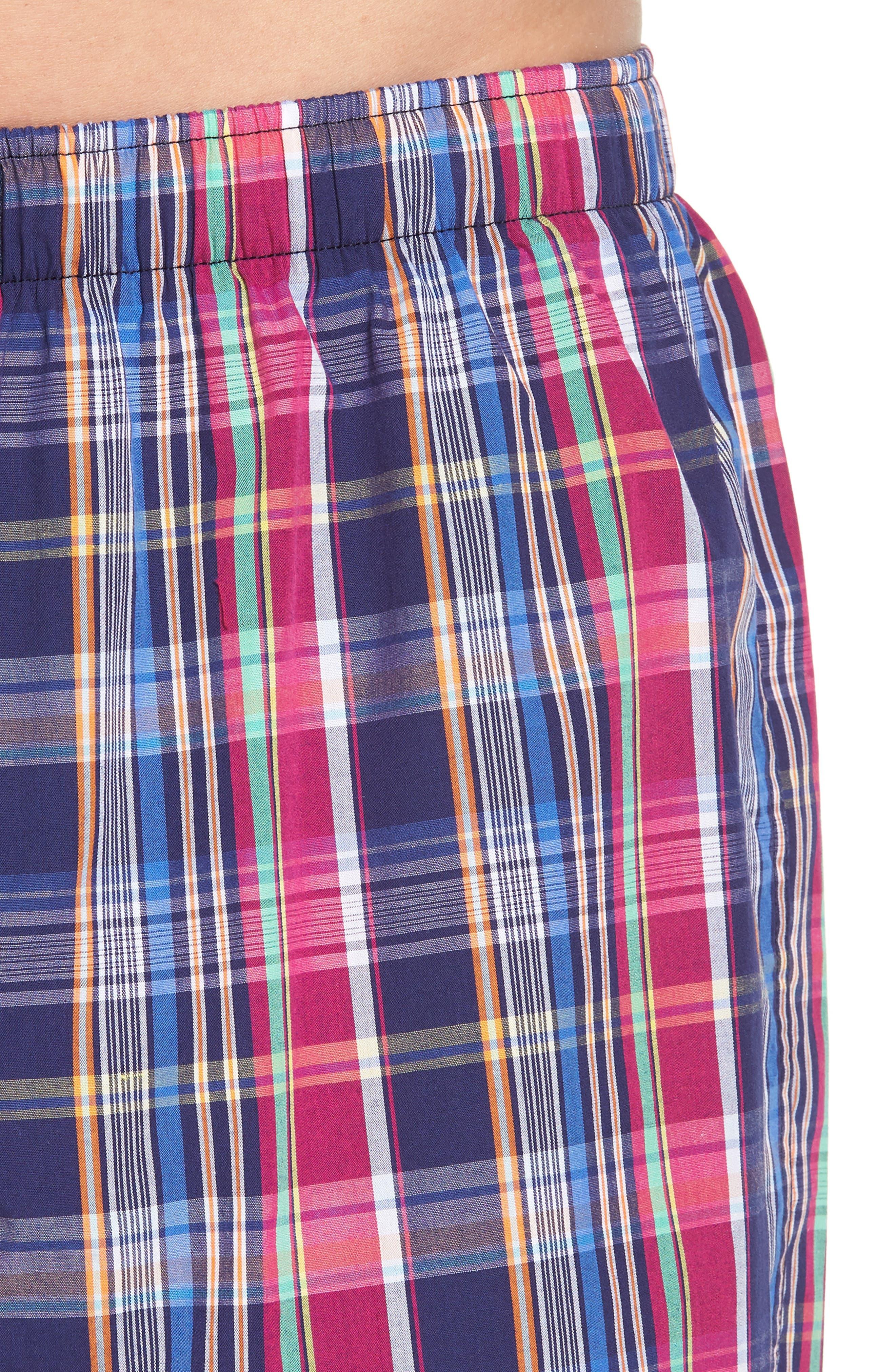 Woven Cotton Boxers,                             Alternate thumbnail 4, color,                             Collin Plaid/ Bright Pink
