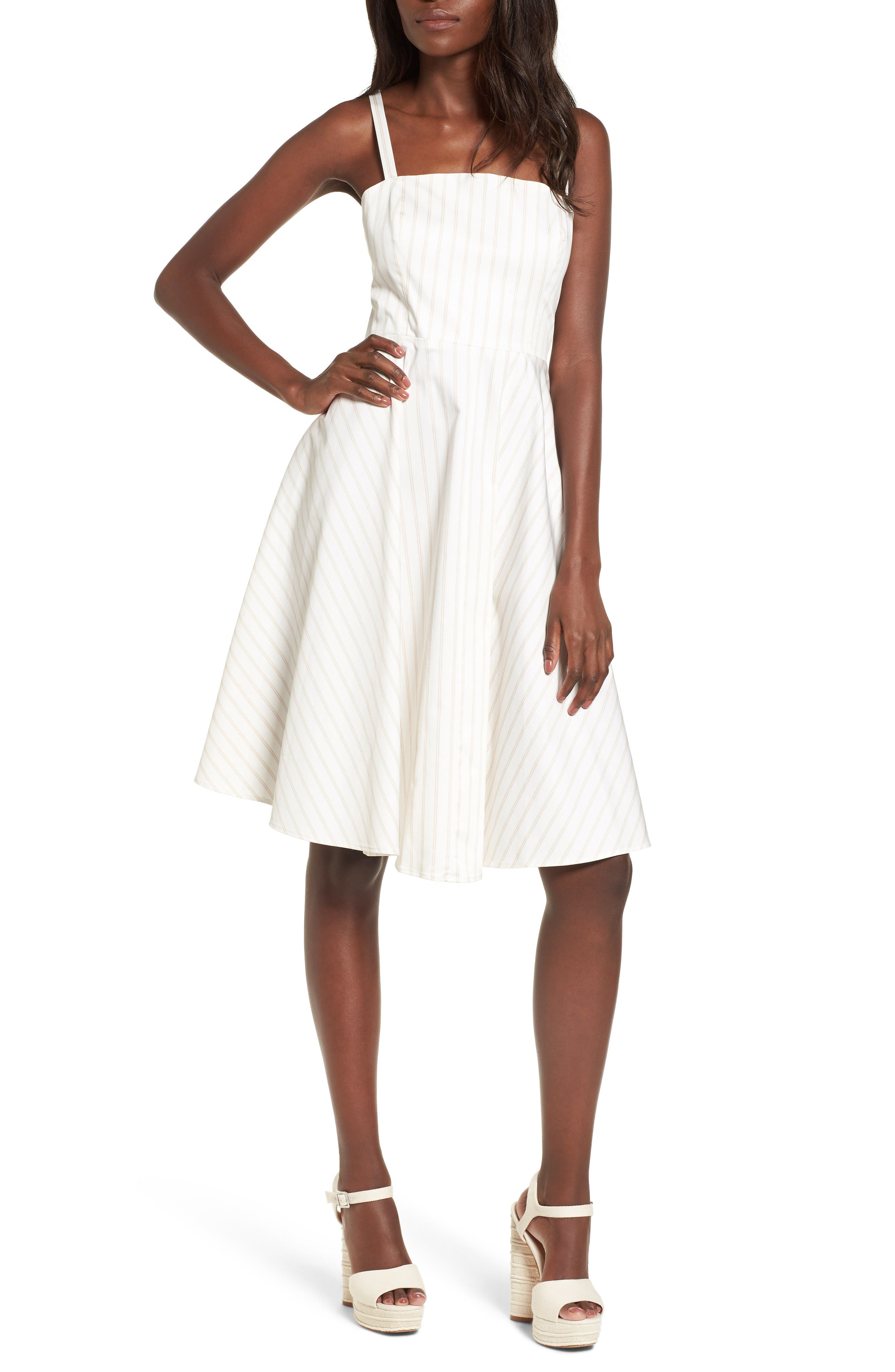 Fit & Flare Dress,                         Main,                         color, Ivory Ashley Stripe