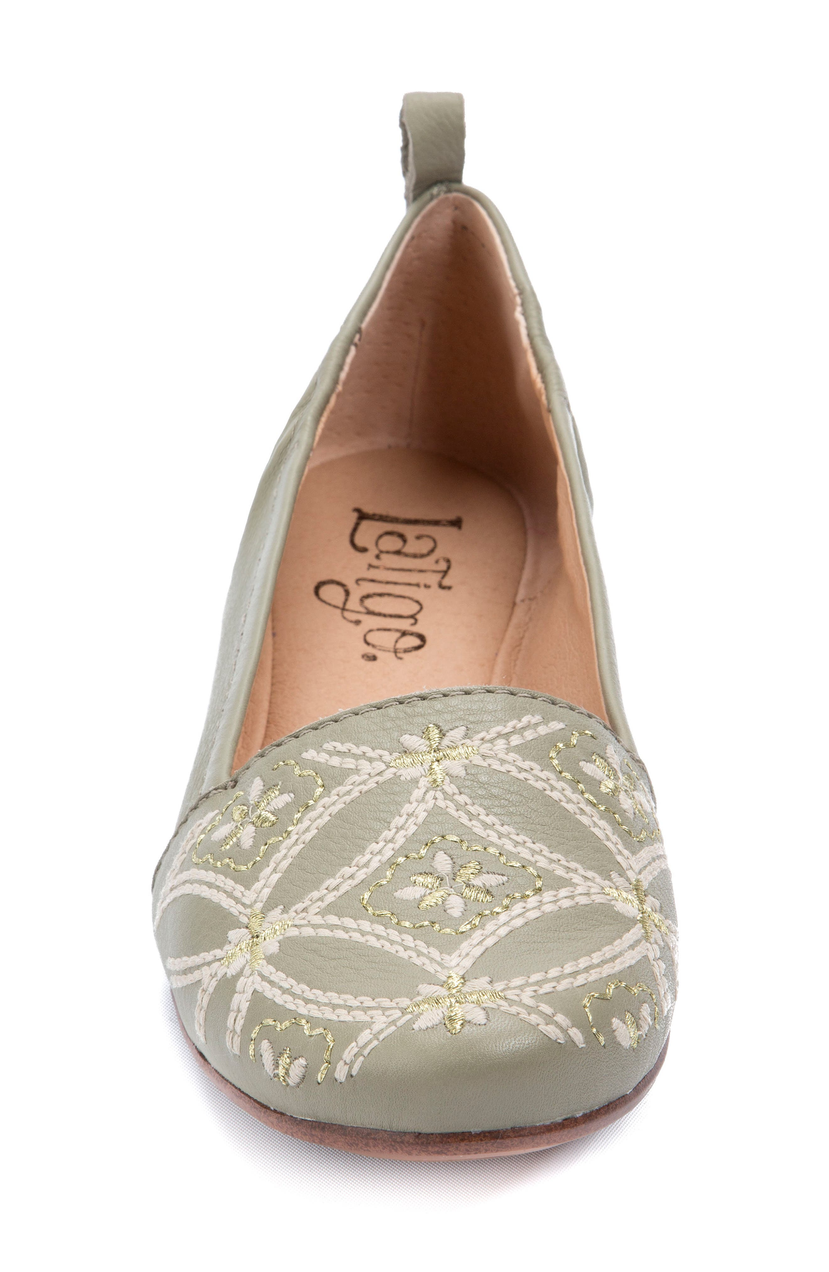 Globe Embroidered Flat,                             Alternate thumbnail 4, color,                             Sage Leather